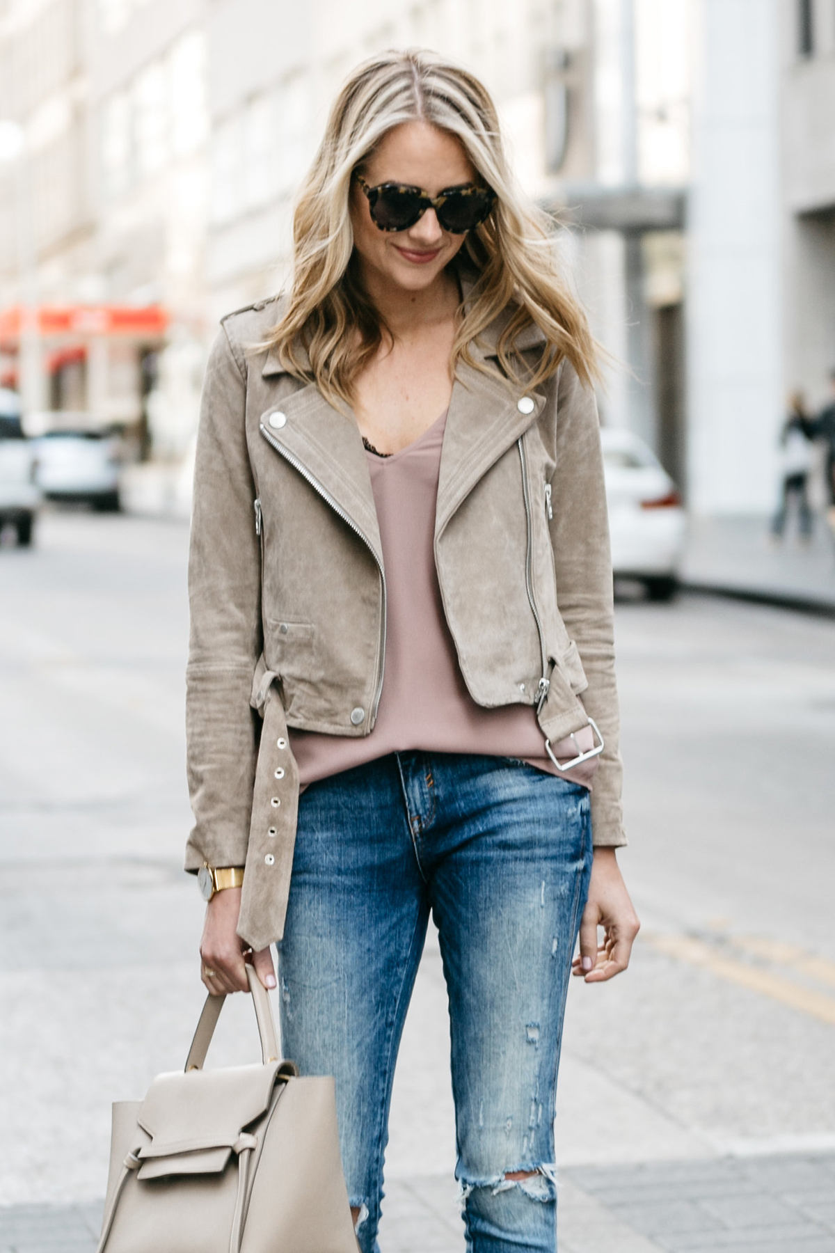 Fashion Jackson, Street Style, Blanknyc Tan Suede Moto Jacket, Blush Cami, Denim Ripped Skinny Jeans, Black Lace Bralette