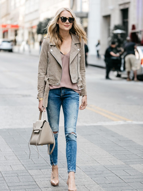 Fashion Jackson, Street Style, Blanknyc Tan Suede Moto Jacket, Blush Cami, Denim Ripped Skinny Jeans, Christian Louboutin Nude Pumps, Celine Belt Bag
