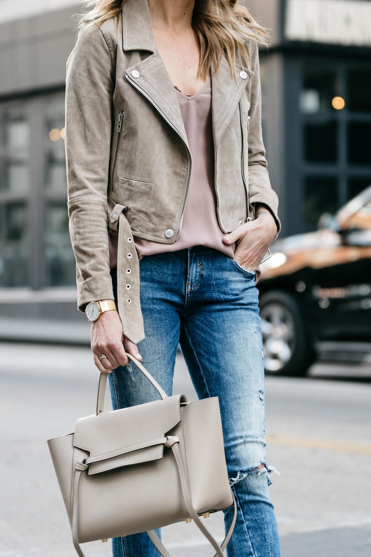Fashion Jackson, Street Style, Blanknyc Tan Suede Moto Jacket, Blush Cami, Denim Ripped Skinny Jeans
