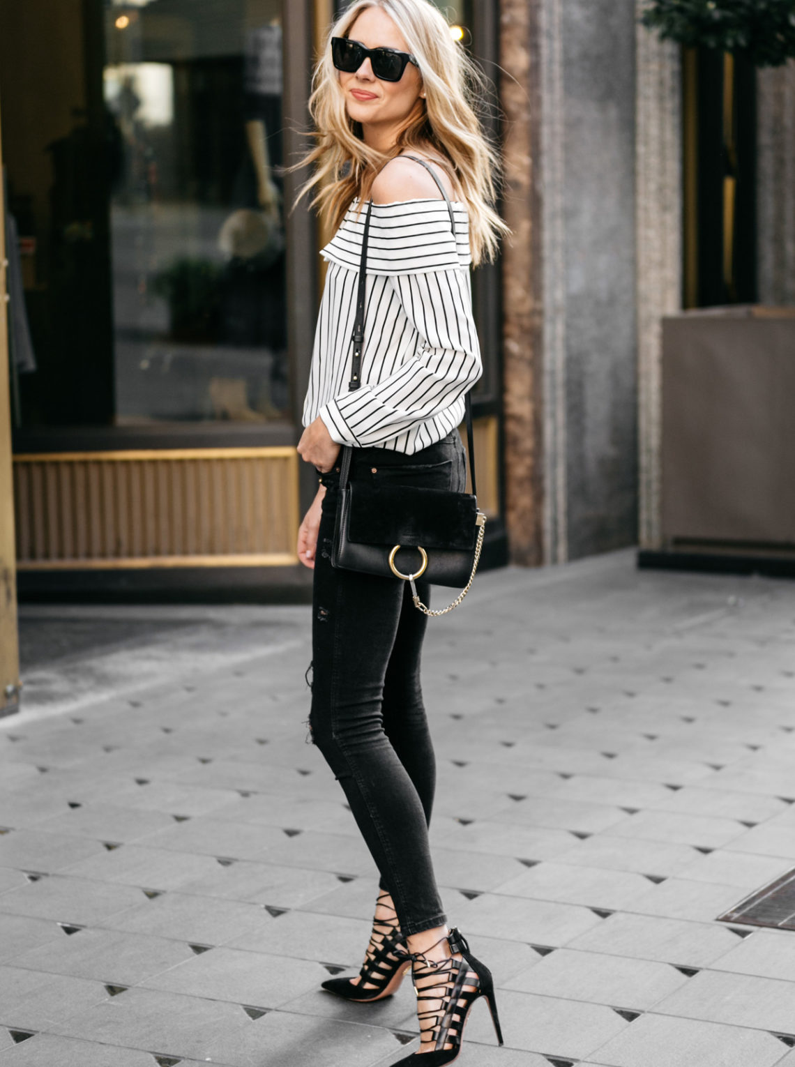 Fashion Jackson, Street Style, Off-the-Shoulder Striped Top, Black Ripped Skinny Jeans, Chloe Faye Handbag, Aquazzura Amazon Black Pumps