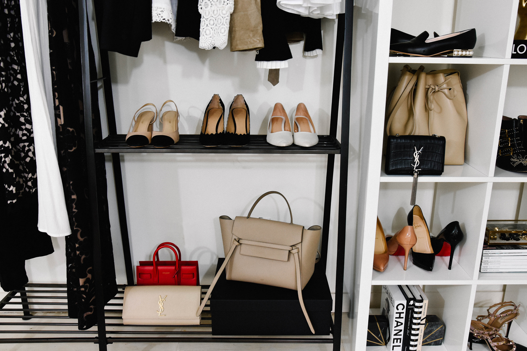Fashion Jackson, Dallas Blogger, Home Office, Clothing Rack, How to Style a Clothing Rack, Ikea White Lacquer Shelves