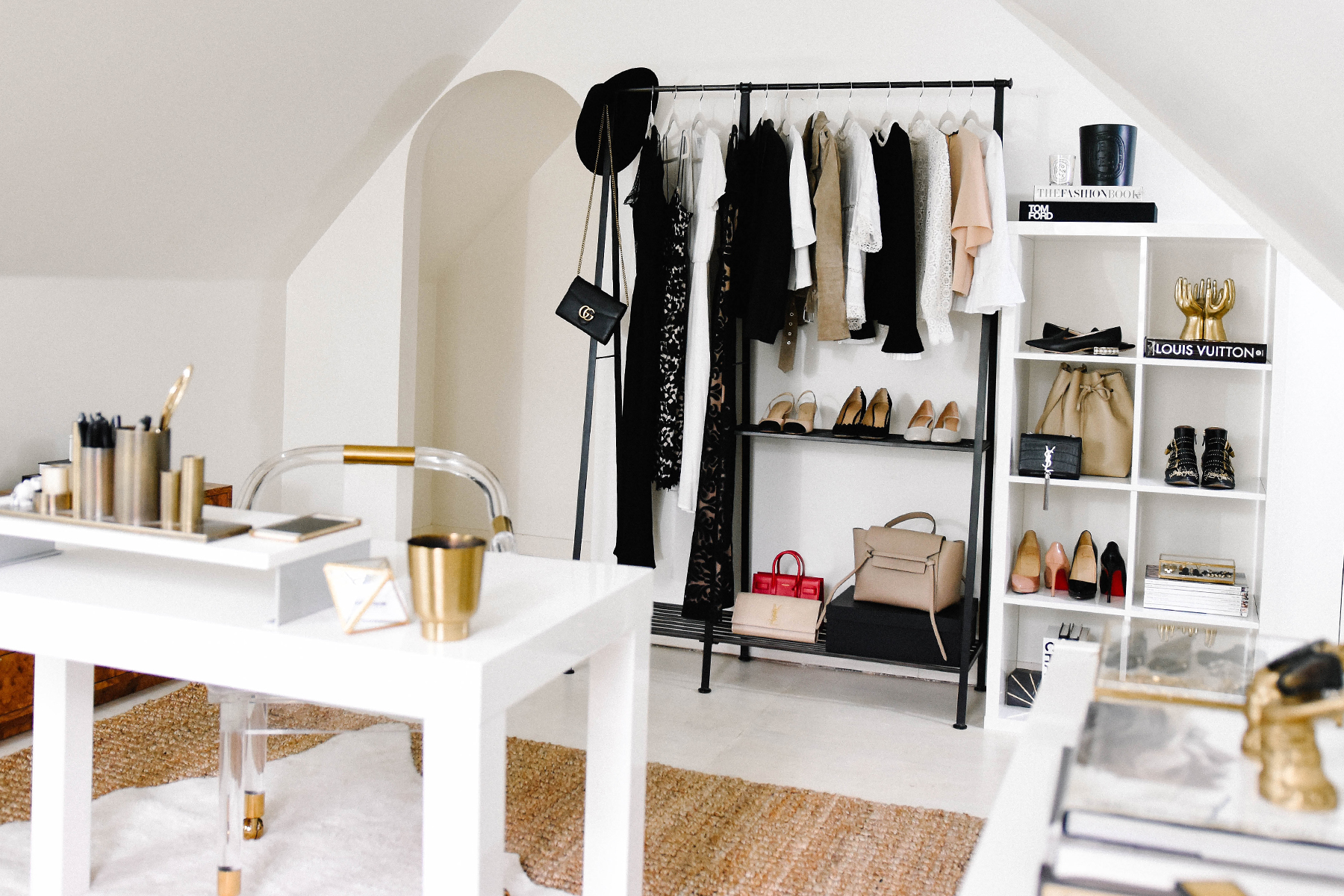 Fashion Jackson, Dallas Blogger, Home Office, Clothing Rack, How to Style a Clothing Rack, Ikea White Lacquer Shelves, West Elm White Parsons Desk
