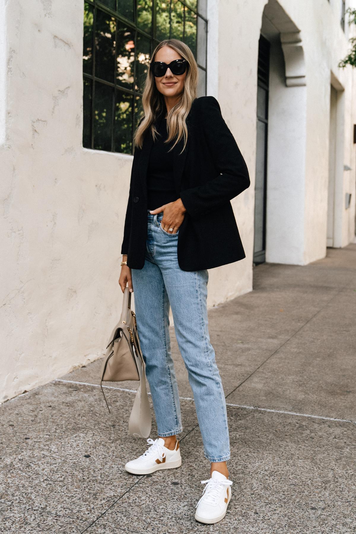 Fashion Jackson Wearing Anine Bing Black Blazer Levis Straight Leg jeans Veja V10 Camel White Sneakers Celine Mini Belt Bag Taupe Fall Outfit Street Style 1
