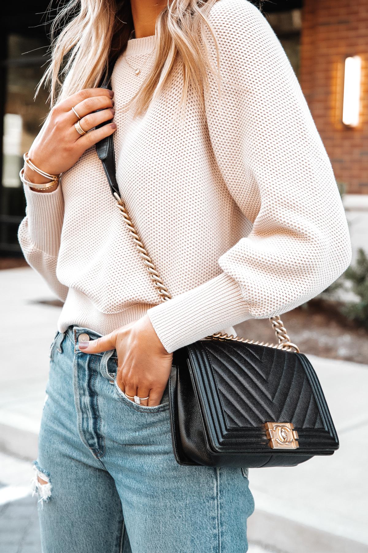 Fashion Jackson Wearing Ann Taylor Beige Knit Sweater Levis Ripped Jeans Chanel Black Boy Bag 2