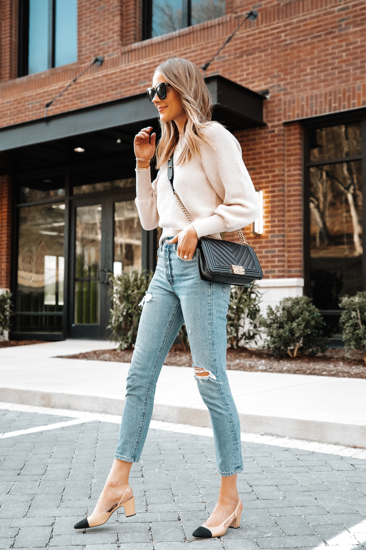 Fashion Jackson Wearing Ann Taylor Beige Knit Sweater Levis Ripped Jeans Chanel Slingbacks Chanel Black Boy Bag 1