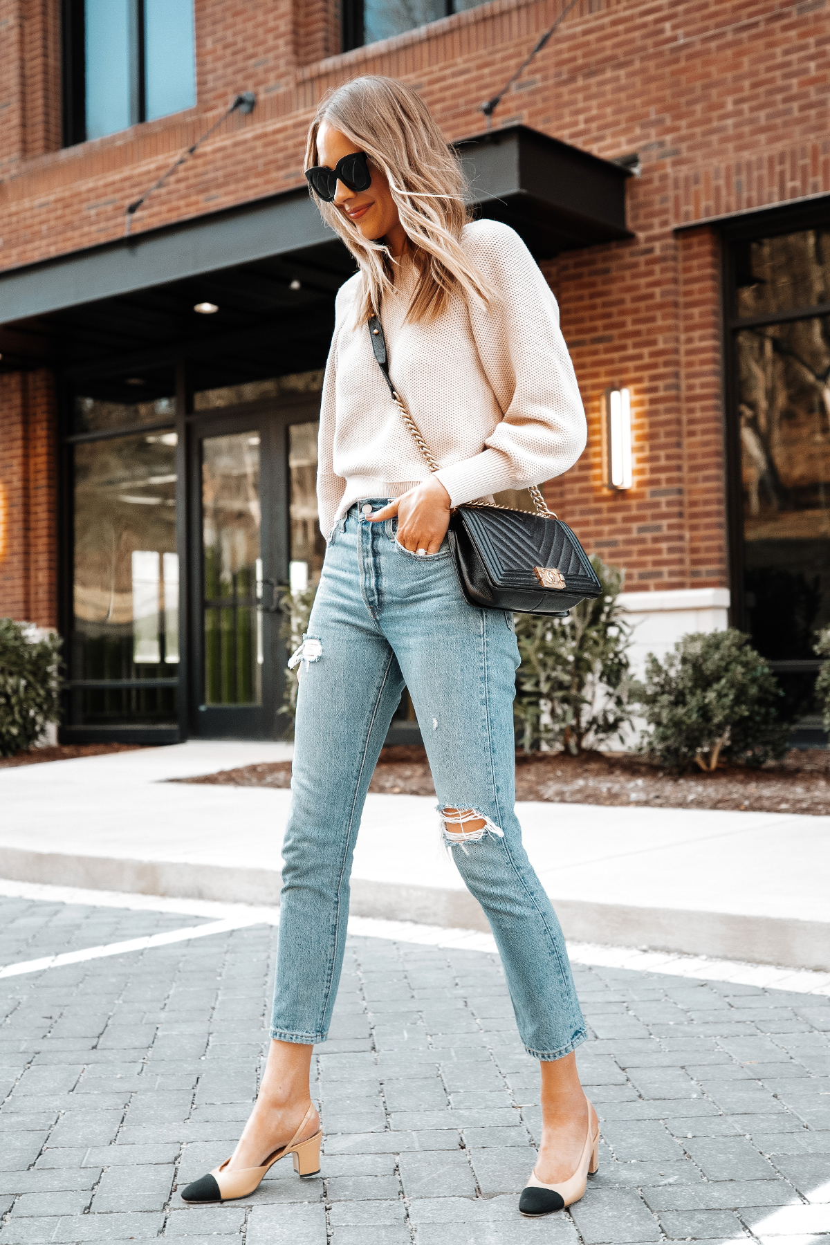 Fashion Jackson Wearing Ann Taylor Beige Knit Sweater Levis Ripped Jeans Chanel Slingbacks Chanel Black Boy Bag 2