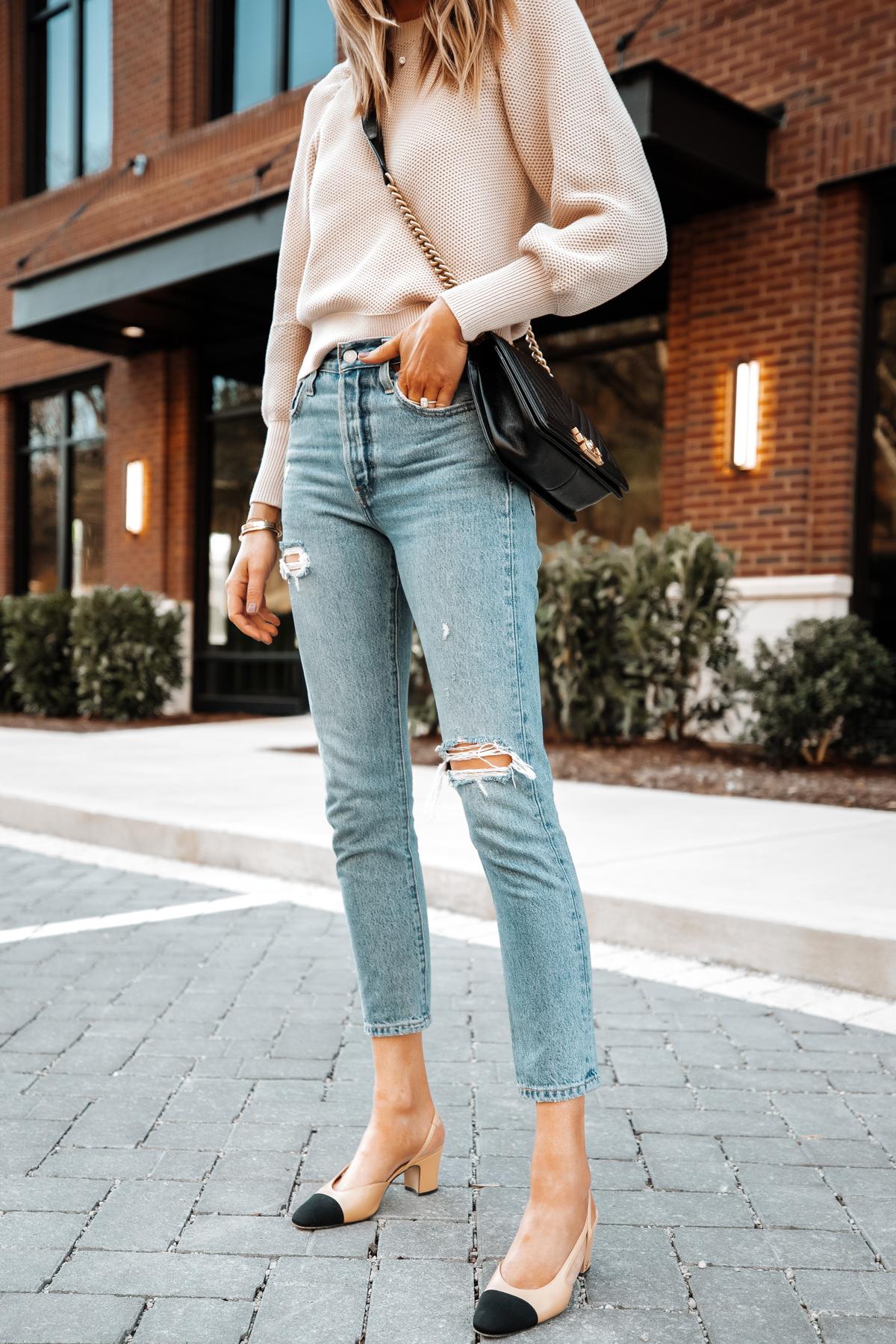 Fashion Jackson Wearing Ann Taylor Beige Knit Sweater Levis Ripped Jeans Chanel Slingbacks Chanel Black Boy Bag