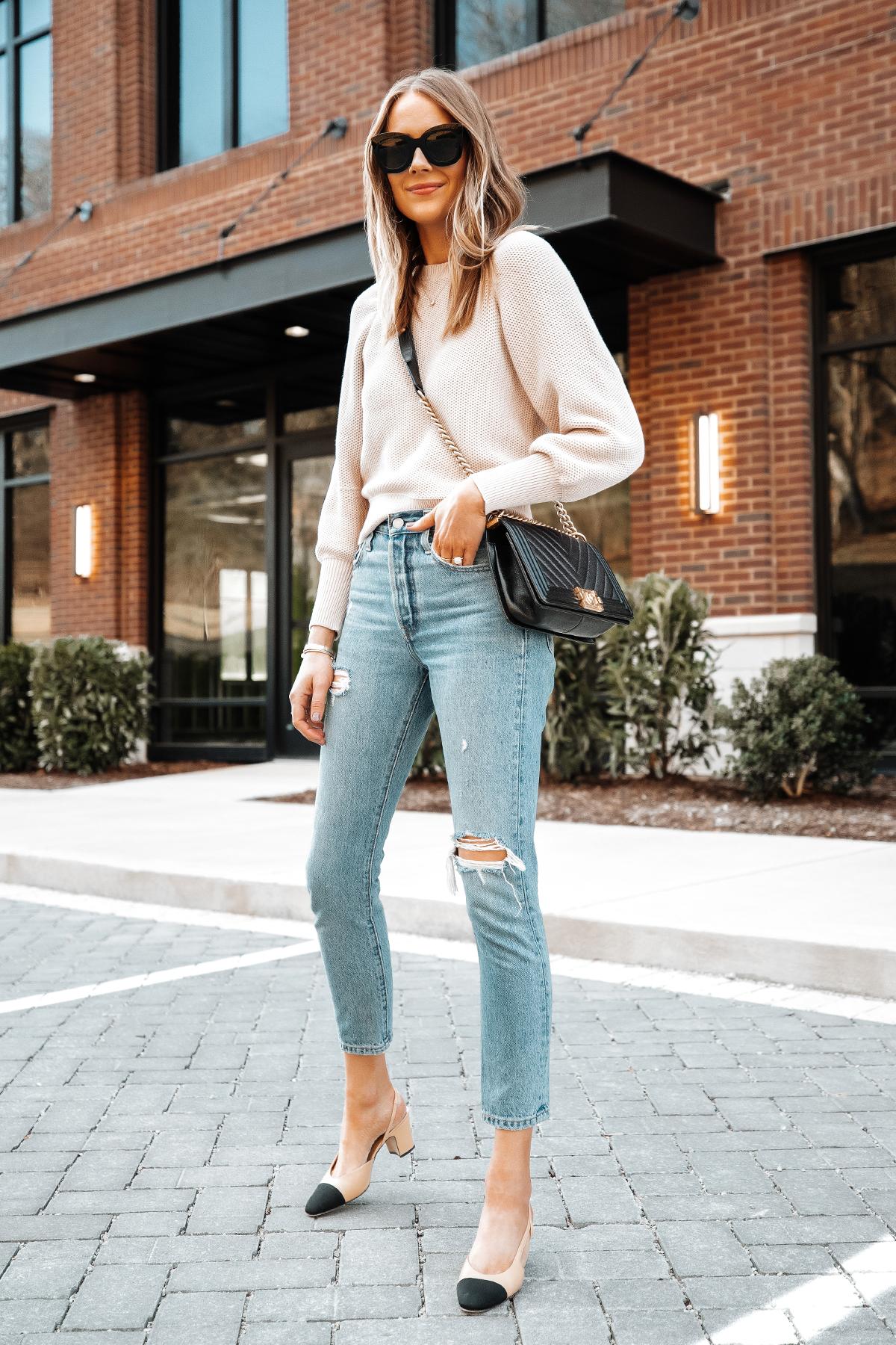 Fashion Jackson Wearing Ann Taylor Beige Knit Sweater Levis Ripped Jeans Chanel Slingbacks Chanel Boy Bag