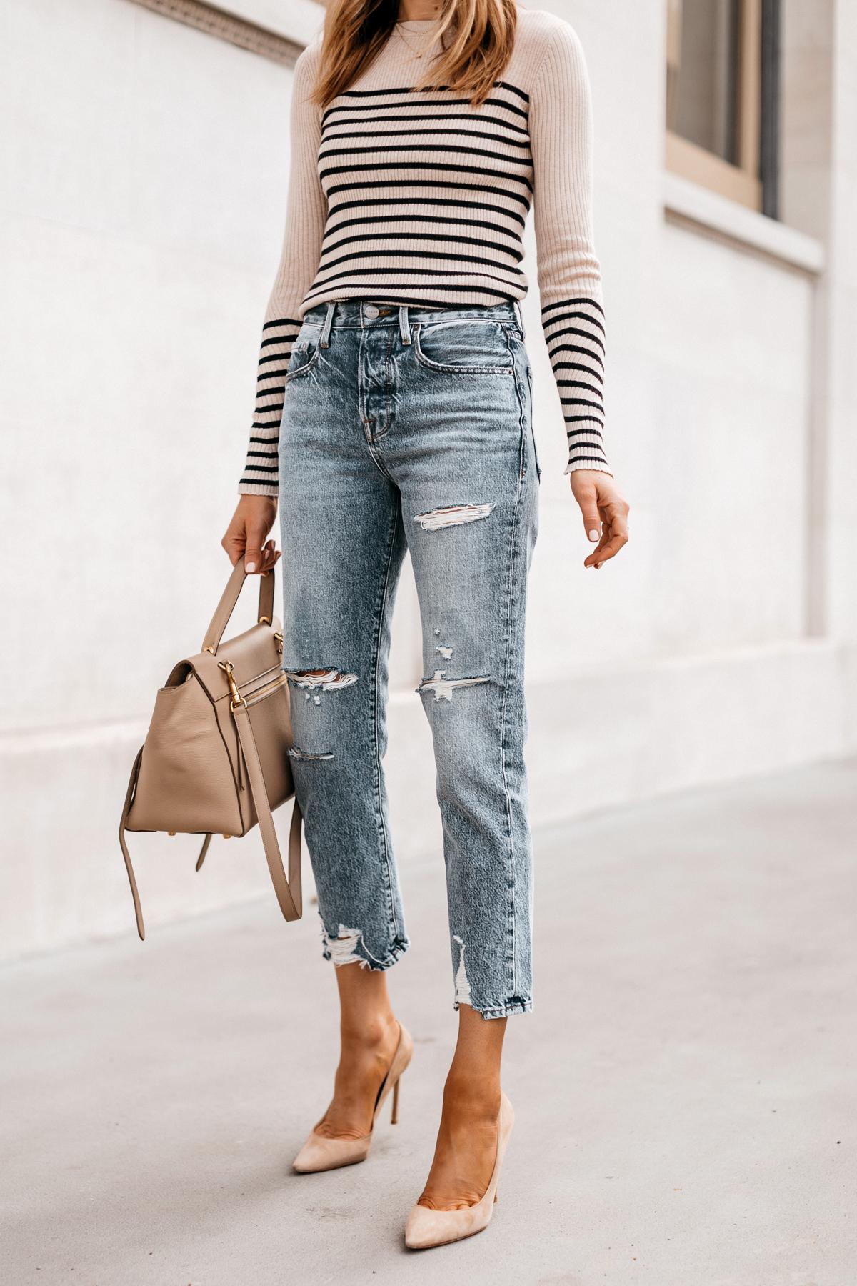 Fashion Jackson Wearing Rag and Bone Striped Long Sleeve Top Frame Ripped Boyfriend Jeans Nude Pumps