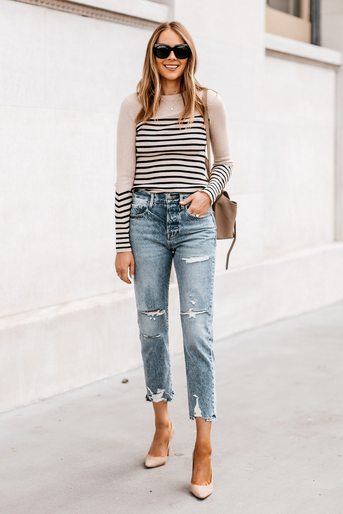 Fashion Jackson Wearing Rag and Bone Striped Long Sleeve Top Frame Ripped Boyfriend Jeans Nude Pumps Street Style Outfit 1