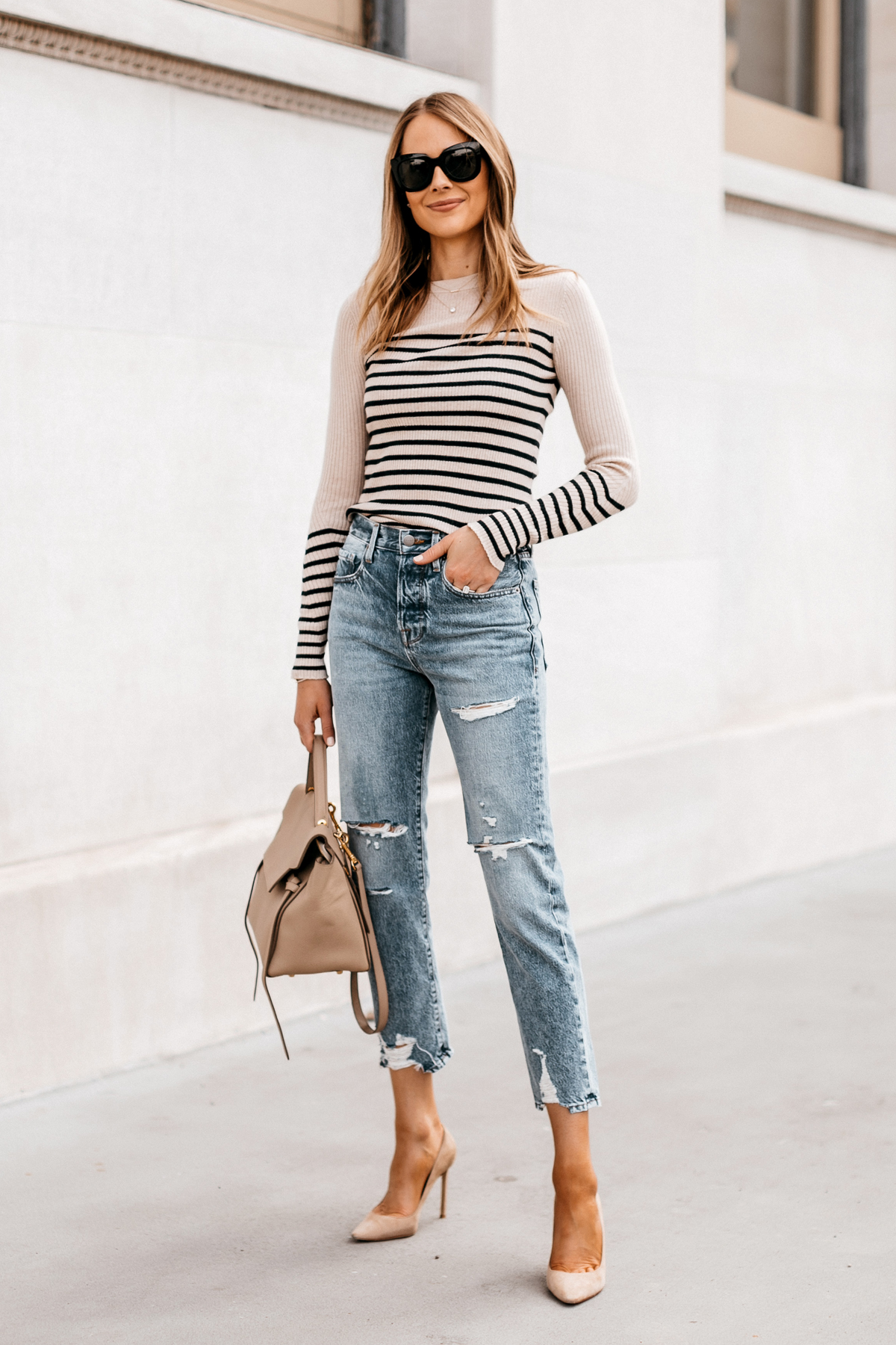 Fashion Jackson Wearing Rag and Bone Striped Long Sleeve Top Frame Ripped Boyfriend Jeans Nude Pumps Street Style Outfit