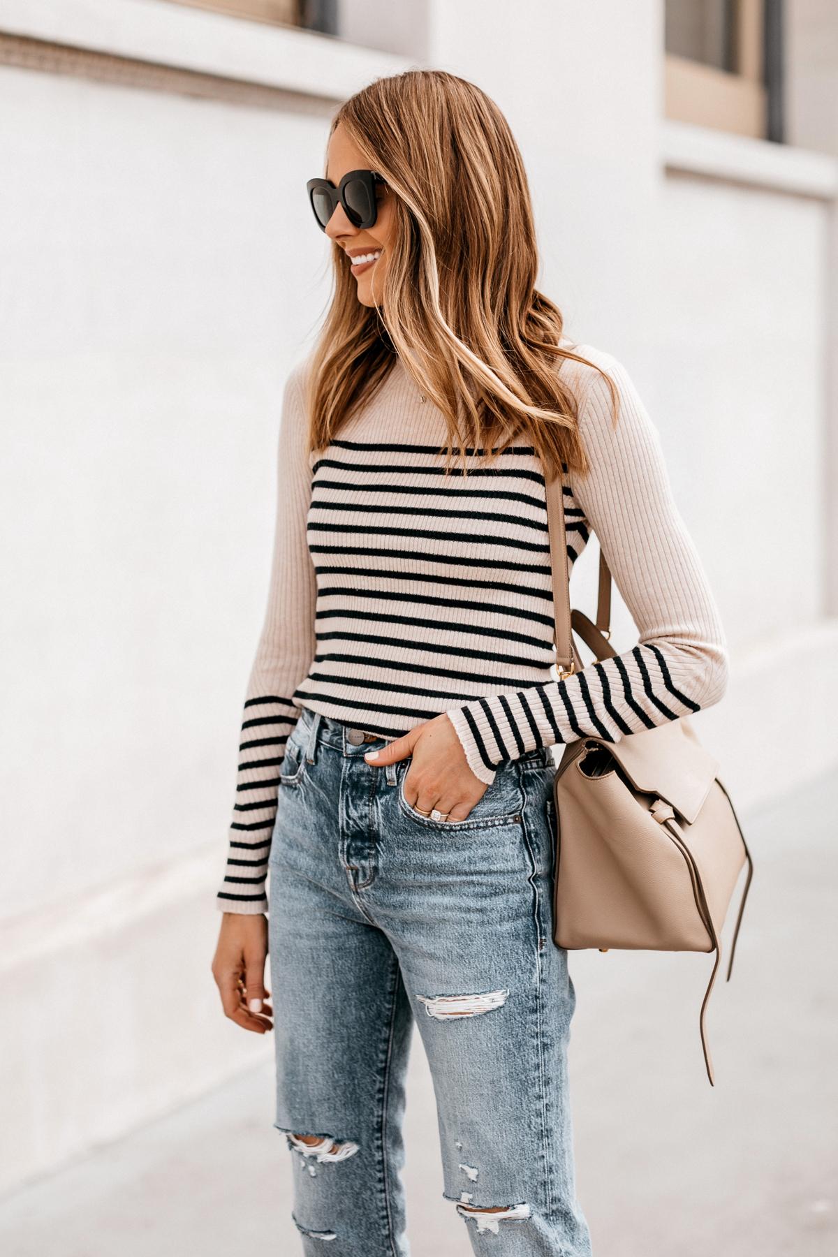 Fashion Jackson Wearing Rag and Bone Striped Long Sleeve Top Frame Ripped Jeans Celine Belt Bag