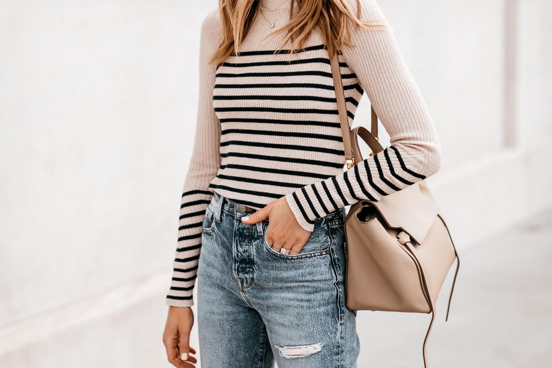 Fashion Jackson Wearing Rag and Bone Striped Long Sleeve Top Ripped Jeans Celine Belt Bag