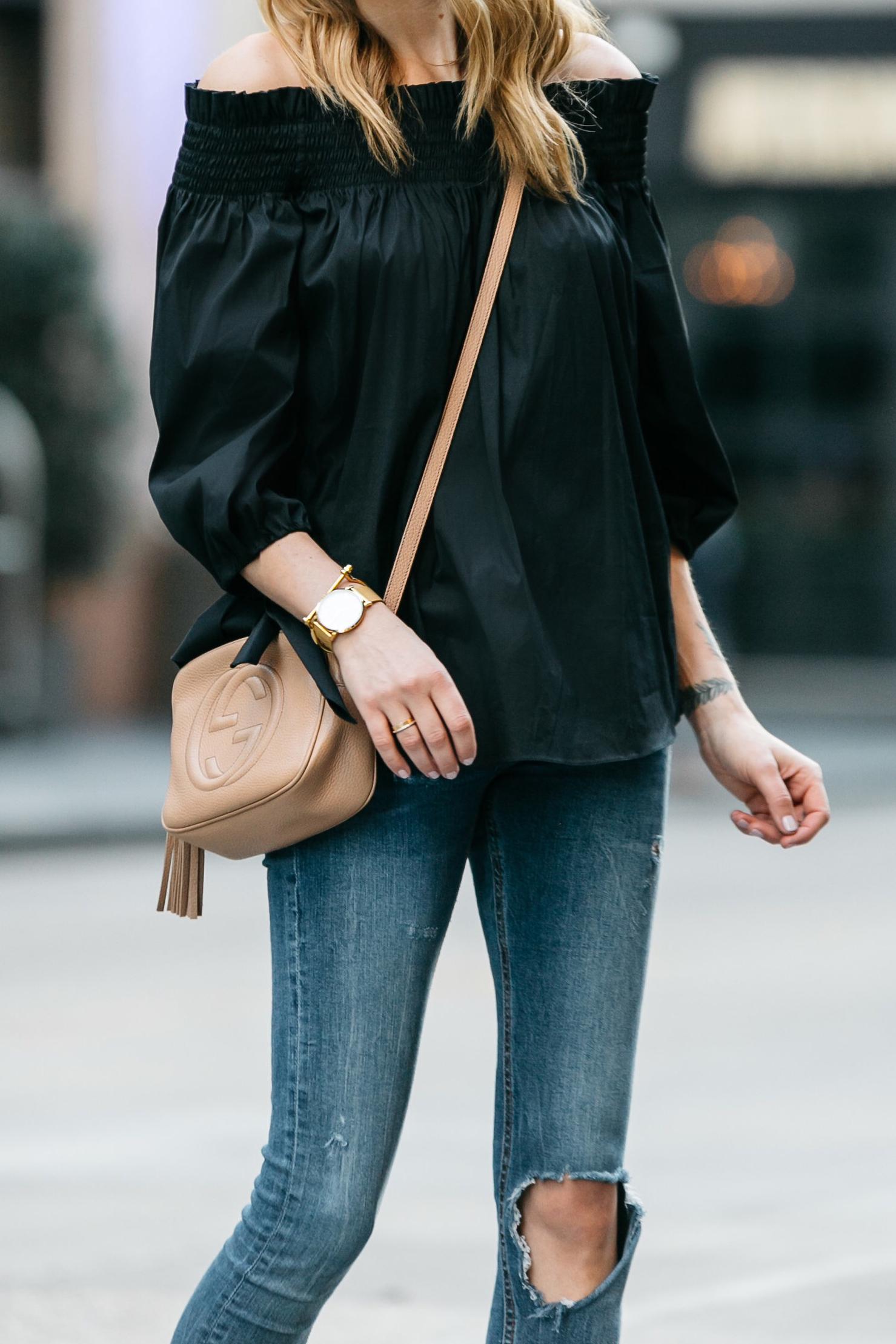 Fashion Jackson, Dallas Blogger, Fashion Blogger, Street Style, Caroline Constas Lou Off the Shoulder Top Black, Denim Ripped Skinny Jeans, Gucci Soho Disco Crossbody