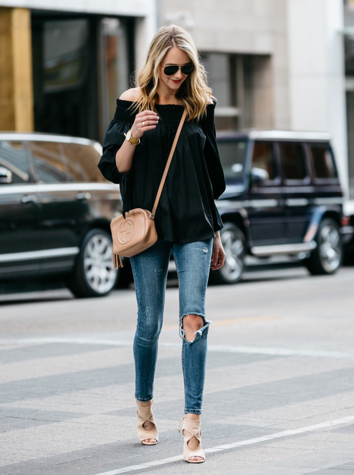 Fashion Jackson, Dallas Blogger, Fashion Blogger, Street Style, Caroline Constas Lou Off the Shoulder Top Black, Denim Ripped Skinny Jeans, Gucci Soho Disco Crossbody, Aquazzura Sexy Thing Cut Out Heels