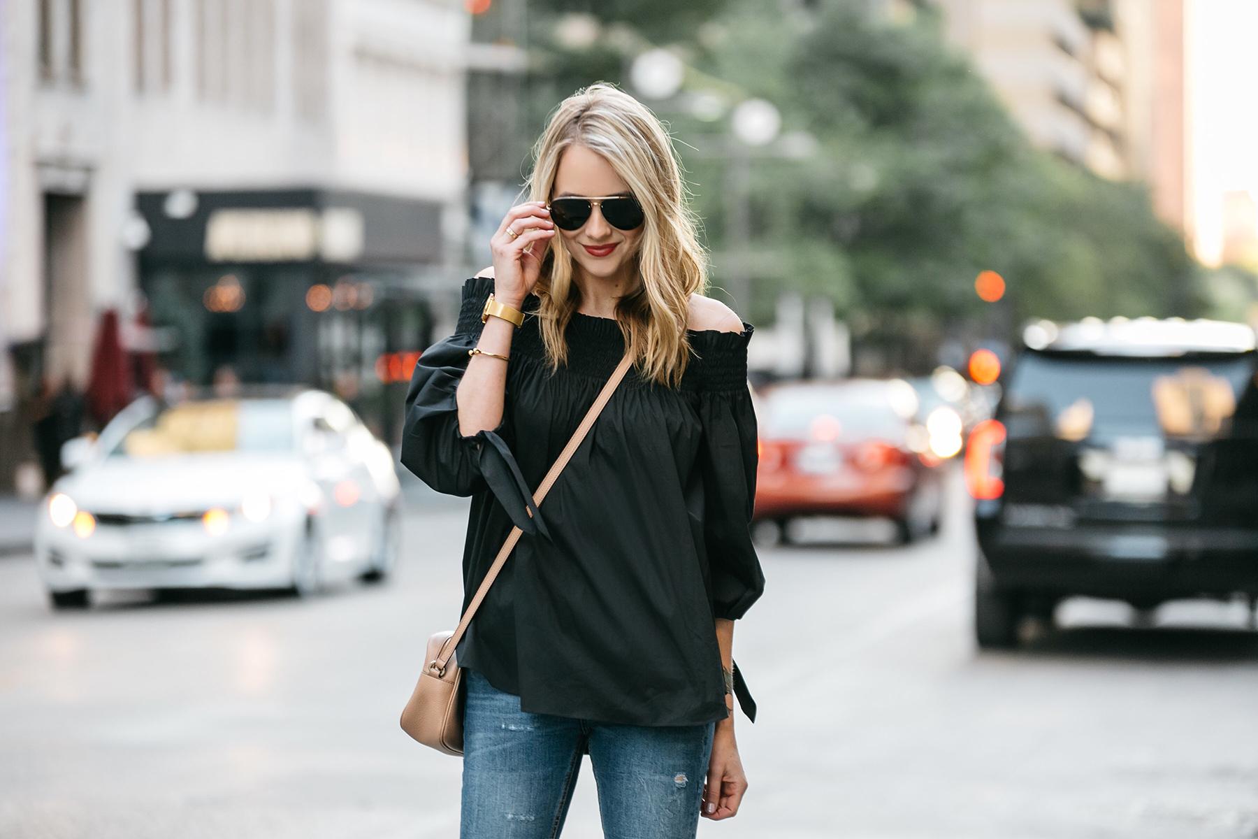 Fashion Jackson, Dallas Blogger, Fashion Blogger, Street Style, Caroline Constas Lou Off the Shoulder Top Black, Denim Ripped Skinny Jeans, Gucci Soho Disco Crossbody, Celine Aviator Sunglasses