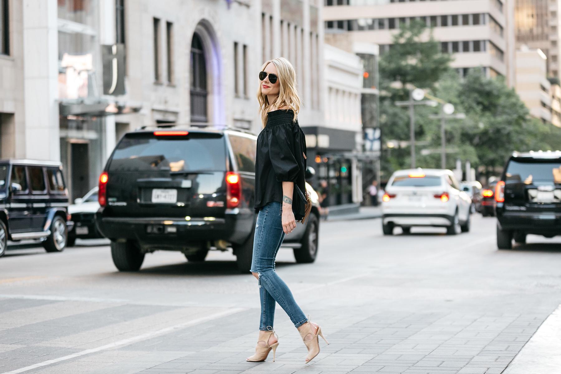 Fashion Jackson, Dallas Blogger, Fashion Blogger, Street Style, Caroline Constas Lou Off the Shoulder Top Black, Denim Ripped Skinny Jeans, Gucci Soho Disco Crossbody, Aquazzura Sexy Thing Cut Out Heels