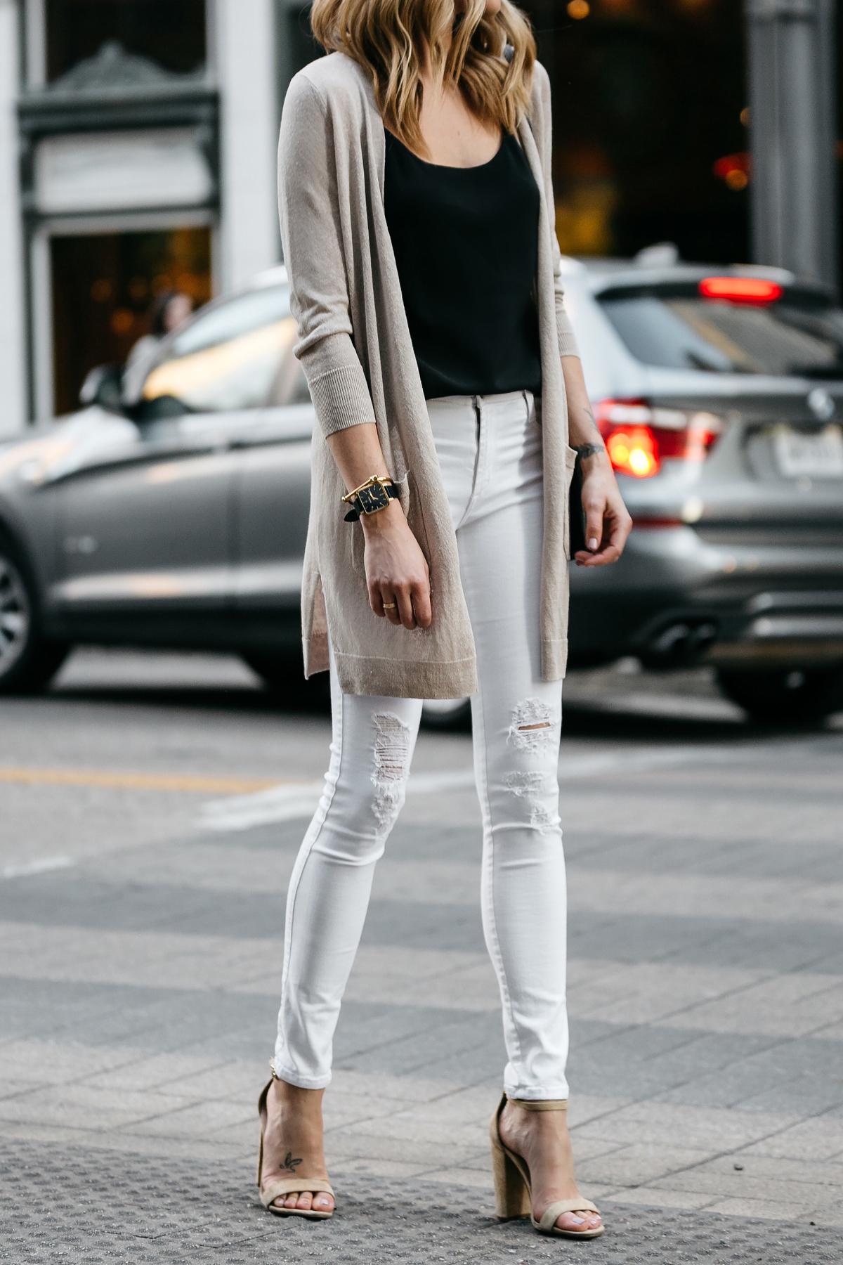 Fashion Jackson, Dallas Blogger, Fashion Blogger, Street Style, Long Beige Cardigan, Black Cami Tank, White Ripped Skinny Jeans, Chloe Faye Handbag, Tan Ankle Strap Heeled Sandals