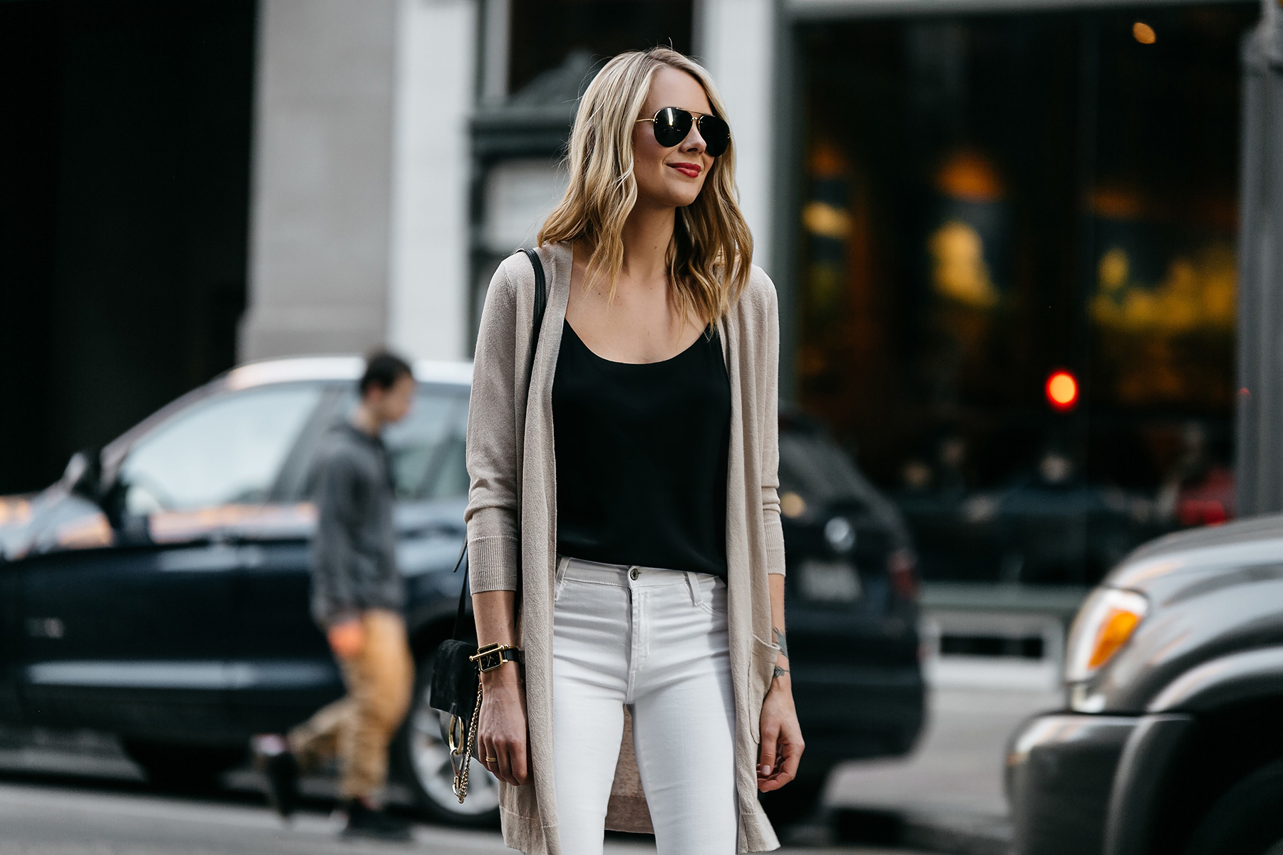 Fashion Jackson, Dallas Blogger, Fashion Blogger, Street Style, Long Beige Cardigan, Black Cami Tank, White Ripped Skinny Jeans, Chloe Faye Handbag