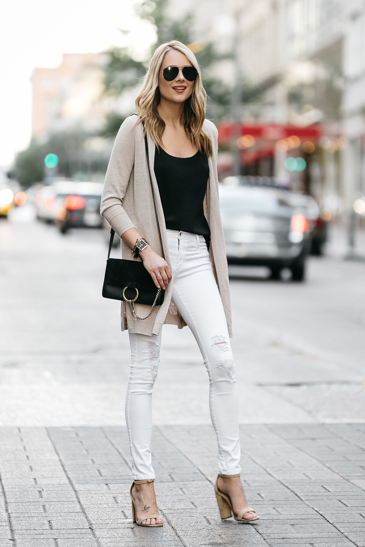 Fashion Jackson, Dallas Blogger, Fashion Blogger, Street Style, Long Beige Cardigan, Black Cami Tank, White Ripped Skinny Jeans, Chloe Faye Handbag, Tan Ankle Strap Heeled Sandals