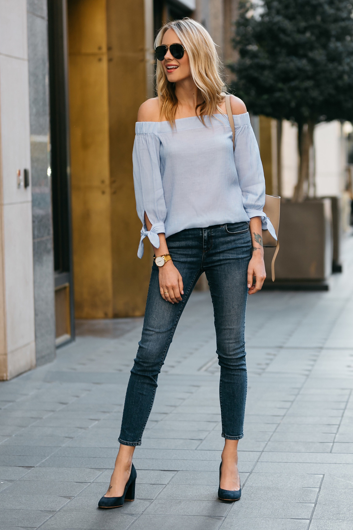 Fashion Jackson, Dallas Blogger, Fashion Blogger, Street Style, Ann Taylor Blue Tie Off-the-shoulder Top, Denim Skinny Jeans, Navy Suede Block Heel Pumps, Celine Belt Bag, Celine Aviator Sunglasses
