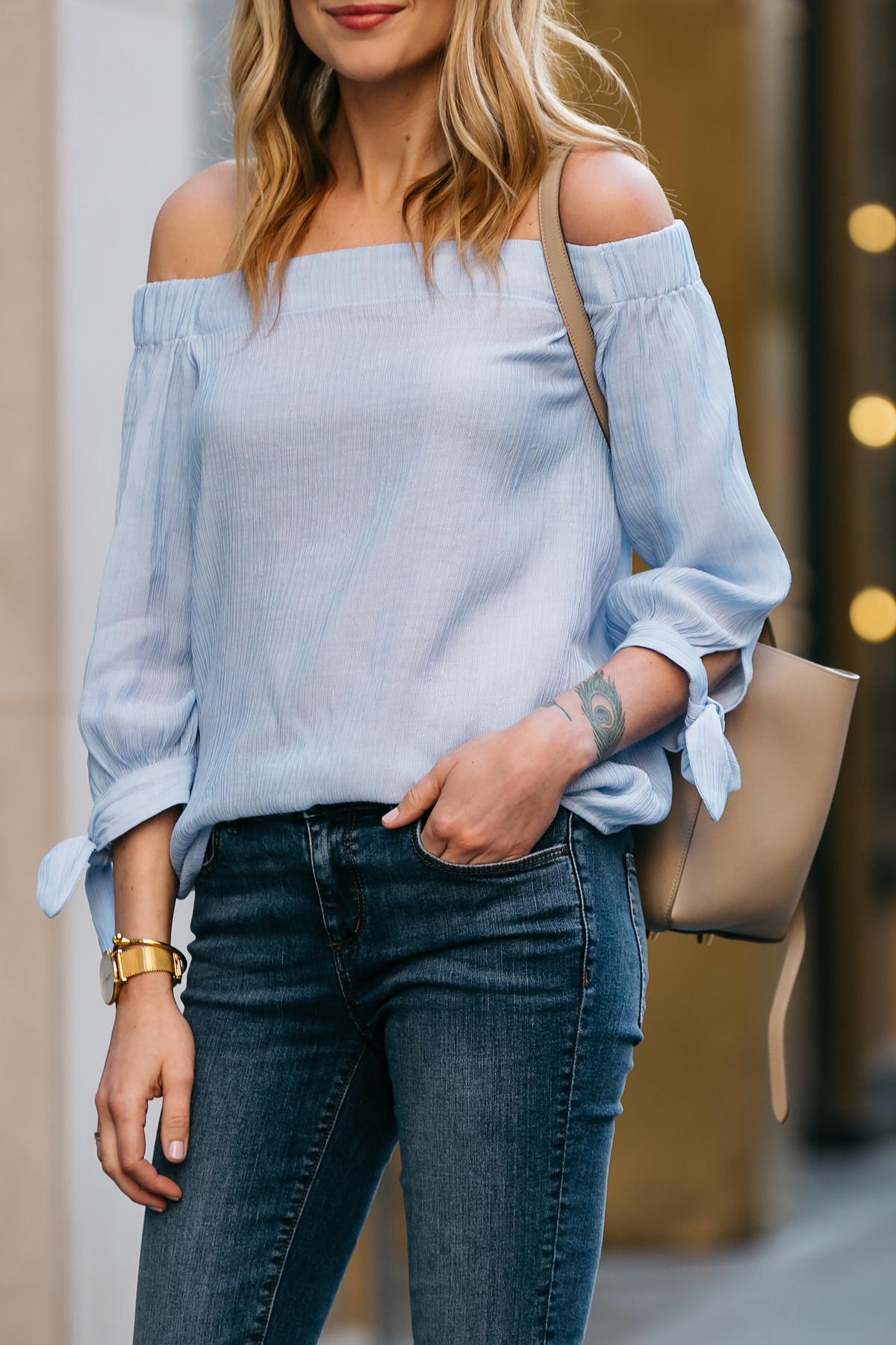 Fashion Jackson, Dallas Blogger, Fashion Blogger, Street Style, Ann Taylor Blue Tie Off-the-shoulder Top, Denim Skinny Jeans