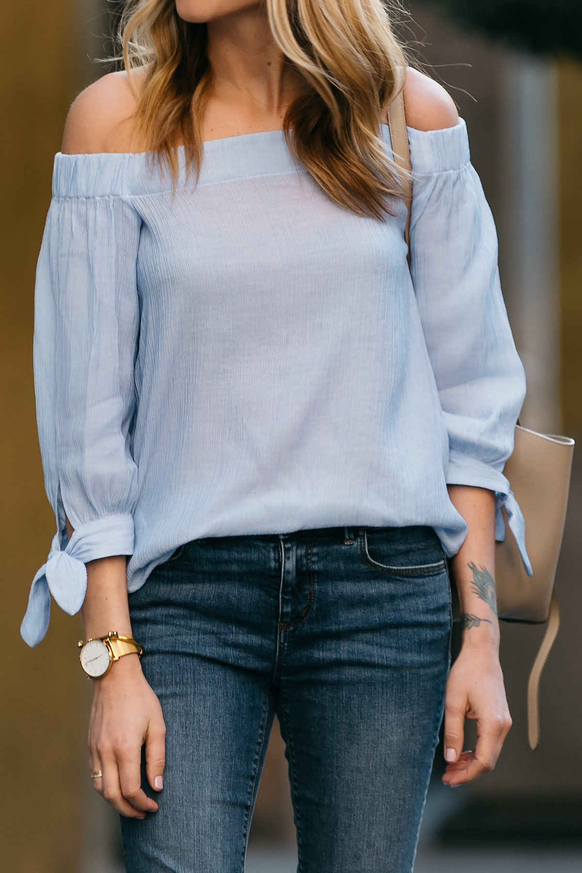 Fashion Jackson, Dallas Blogger, Fashion Blogger, Street Style, Ann Taylor Blue Tie Off-the-shoulder Top, Denim Skinny Jeans