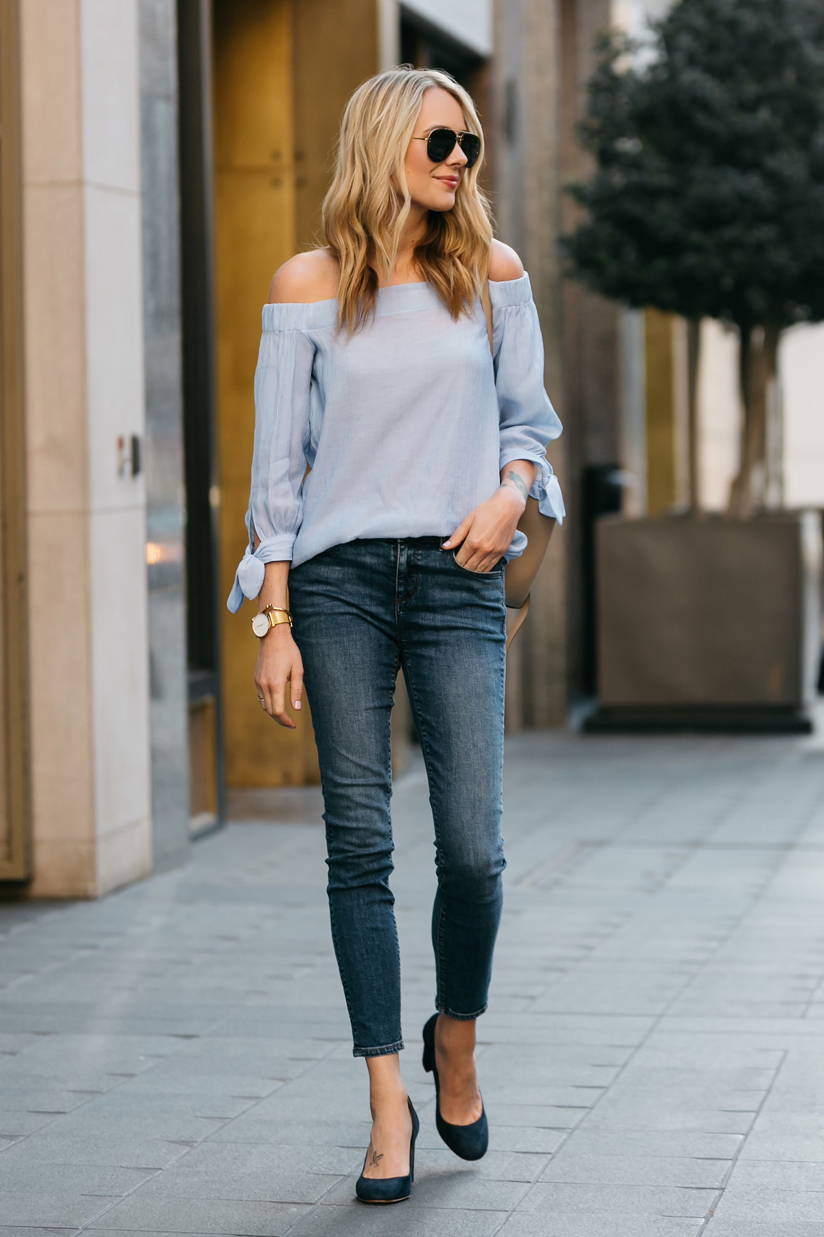 Fashion Jackson, Dallas Blogger, Fashion Blogger, Street Style, Ann Taylor Blue Tie Off-the-shoulder Top, Denim Skinny Jeans, Navy Suede Block Heel Pumps, Celine Belt Bag, Celine Aviator Sunglasses