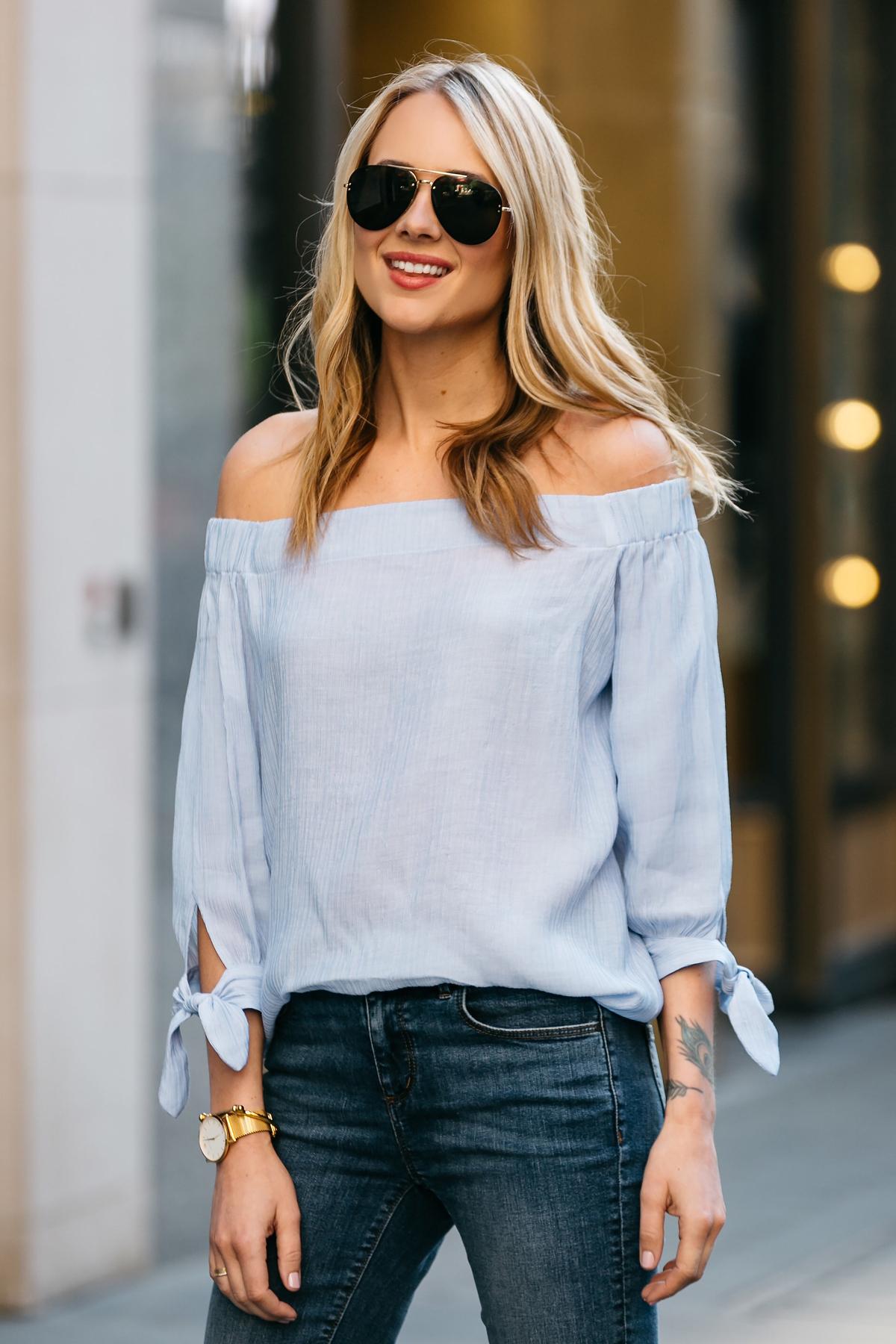 Fashion Jackson, Dallas Blogger, Fashion Blogger, Street Style, Ann Taylor Blue Tie Off-the-shoulder Top, Denim Skinny Jeans, Celine Aviator Sunglasses