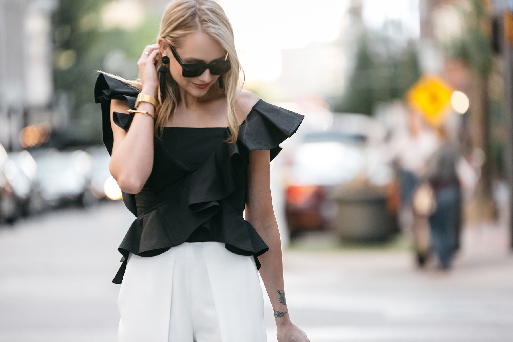 Fashion Jackson, Dallas Blogger, Fashion Blogger, Petersyn Eliza Black Ruffle One Shoulder Top, White Culottes, Steve Madden Stecy Ankle Strap Heels, Gucci Montmart Handbag