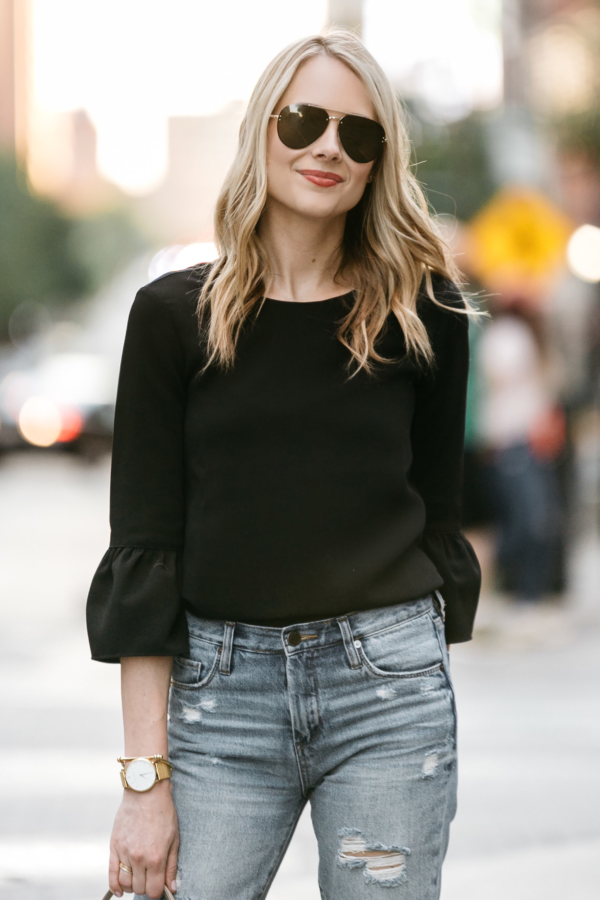 Fashion Jackson, Dallas Blogger, Fashion Blogger, Street Style, Black Bell Sleeve Top, Denim Ripped Mom Jeans, Celine Aviator Sunglasses