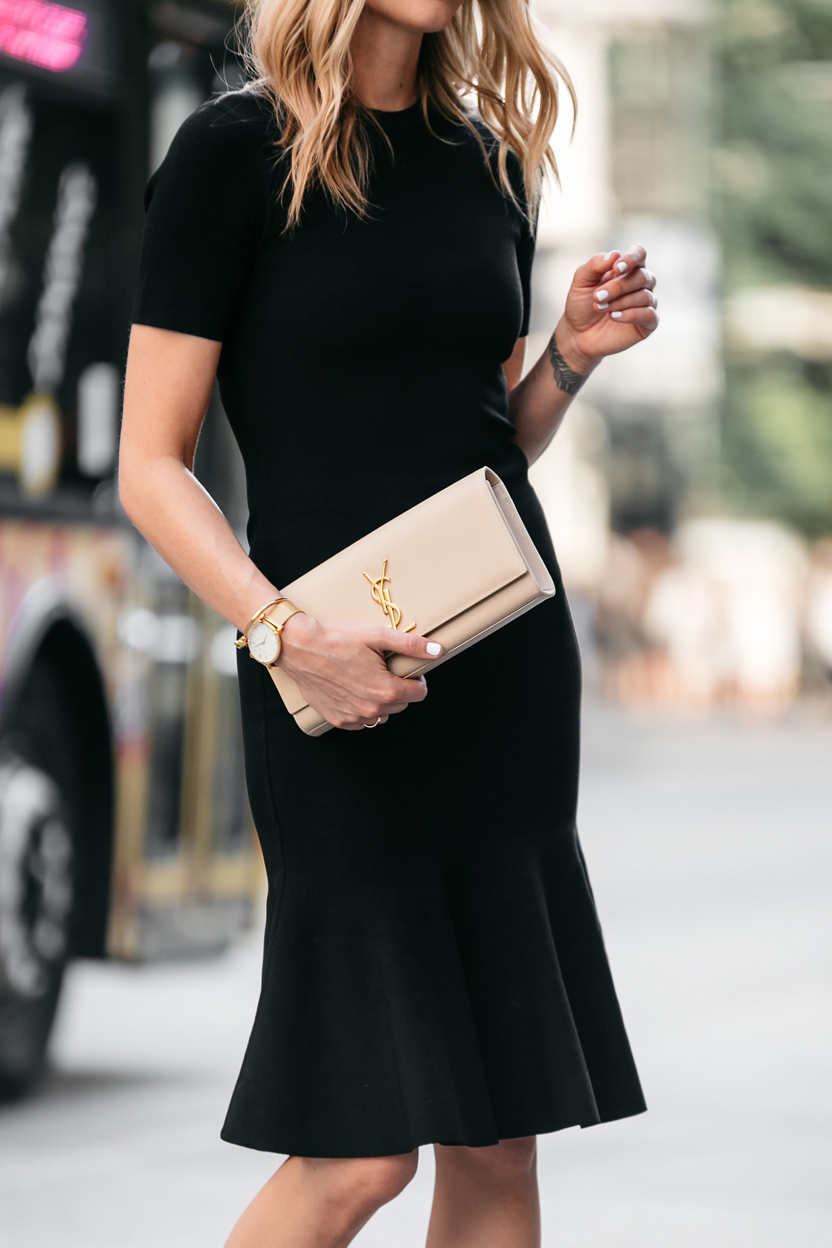 Fashion Jackson, Dallas Blogger, Fashion Blogger, Street Style, Nordstrom Little Black Dress, Milly Black Midi Dress, Milly Mermaid Hem Black Midi Dress, Steve Madden Stecy Nude Ankle Strap Heels, Saint Laurent Monogram Clutch