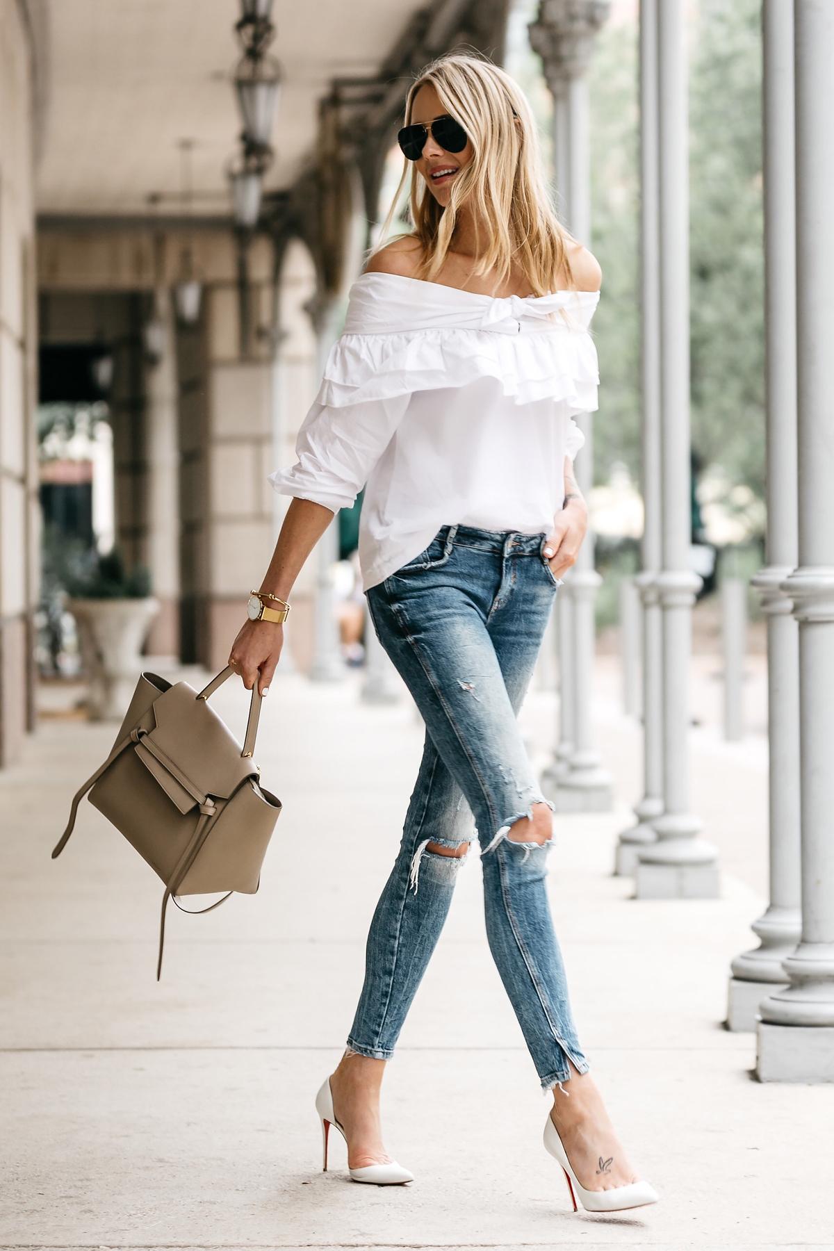 Fashion Jackson, Dallas Blogger, Fashion Blogger, Street Style, White Off-the-Shoulder Bow Ruffle Top, Zara Ripped Skinny Jeans, Christian Louboutin Iriza dOrsay White Pumps, Celine Belt Handbag