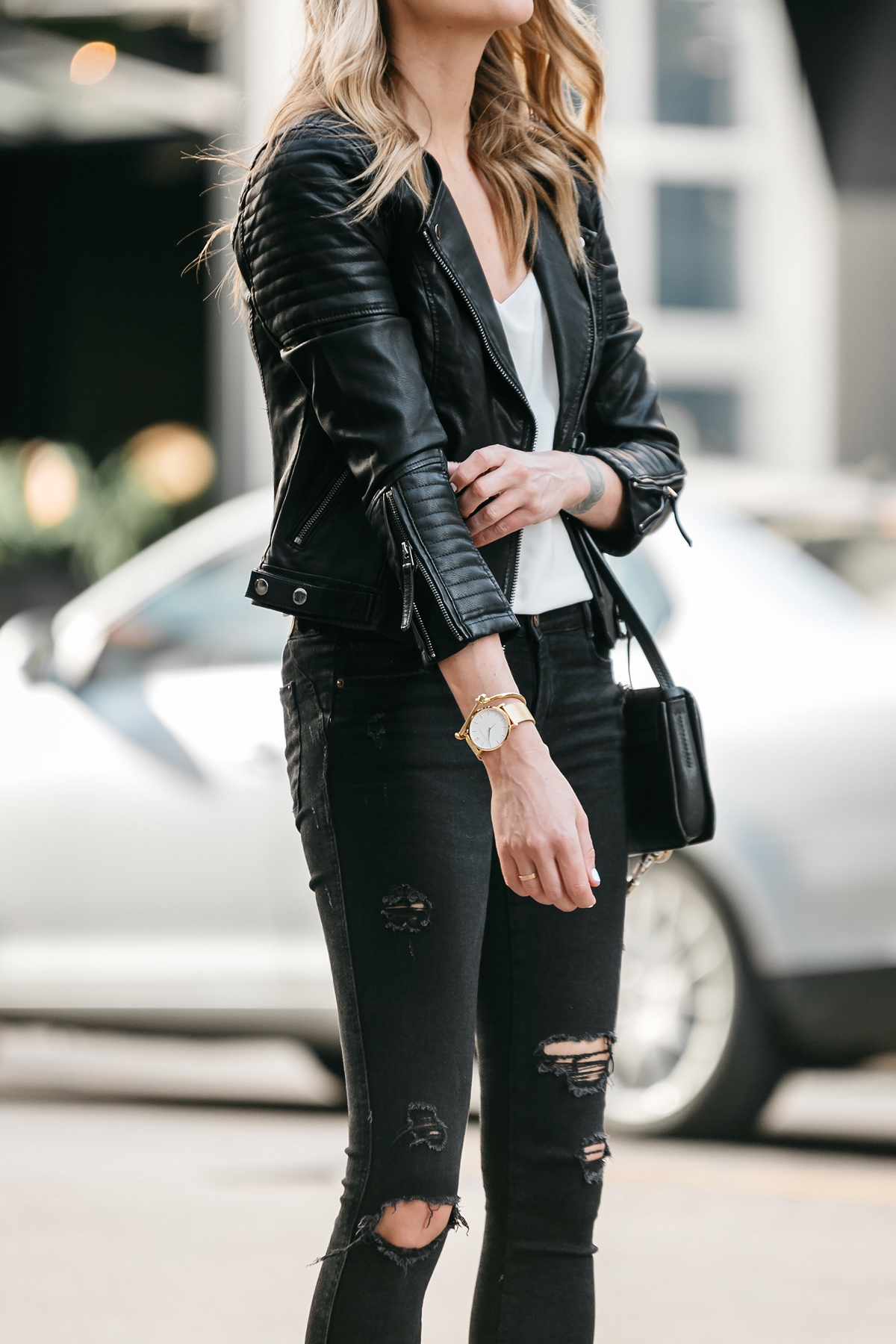 Fashion Jackson, Dallas Blogger, Fashion Blogger, Street Style, Topshop Black Moto Jacket, White Cami, Zara Black Ripped Skinny Jeans, Marc Fisher Zala Black Pumps, Chloe Faye Black Handbag, Celine Aviator Sunglasses