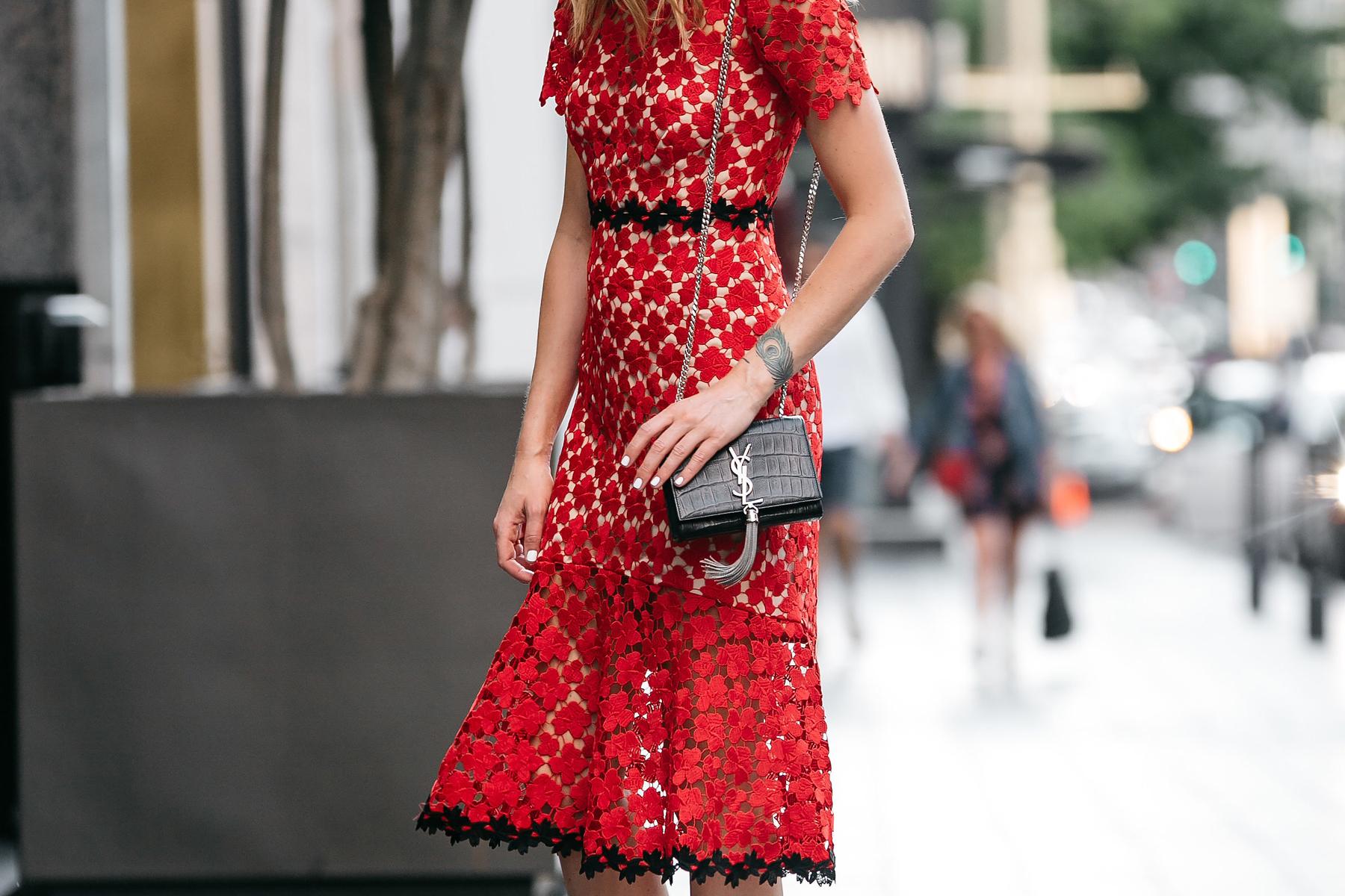Fashion Jackson, Dallas Blogger, Fashion Blogger, Street Style, Jill Stuart Floral Red Lace Dress, Saint Laurent Monogram Handbag