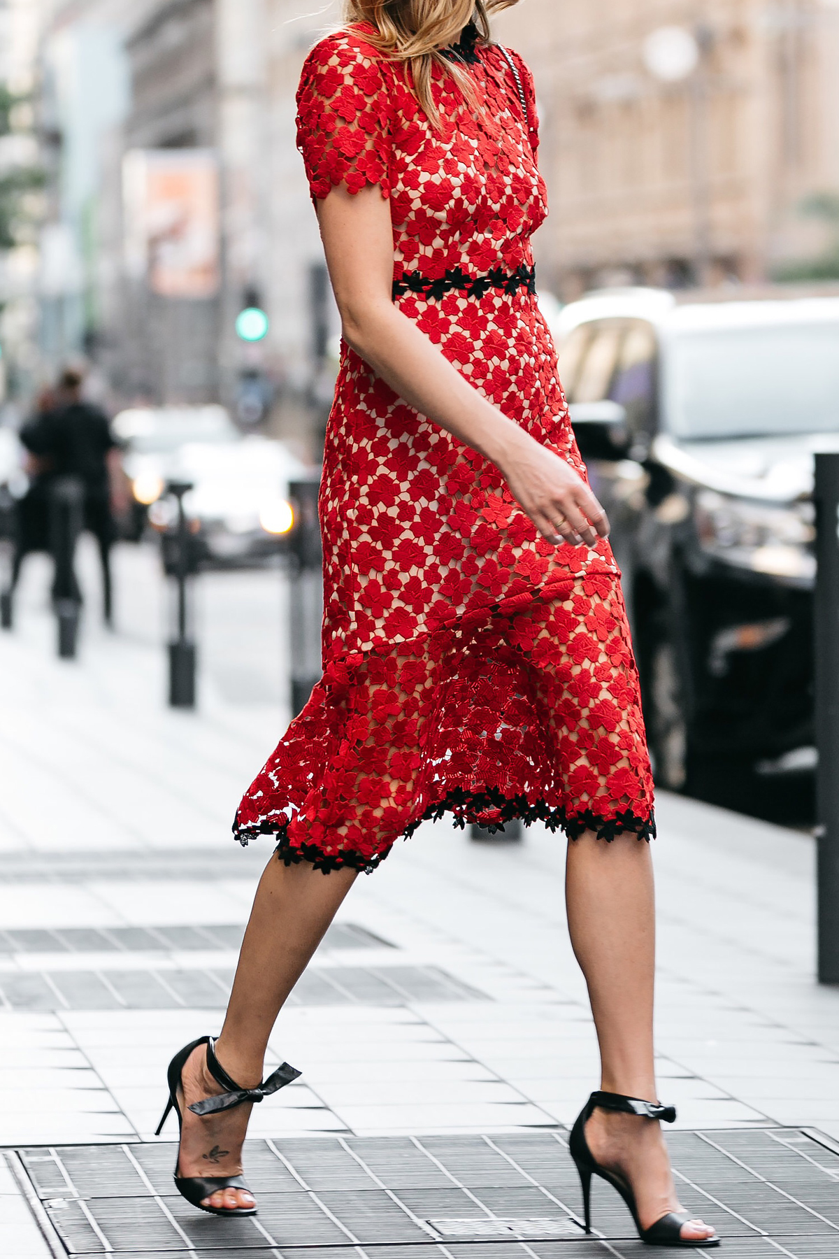 Fashion Jackson, Dallas Blogger, Fashion Blogger, Street Style, Jill Stuart Floral Red Lace Dress, Black Ankle Strap Bow Heels