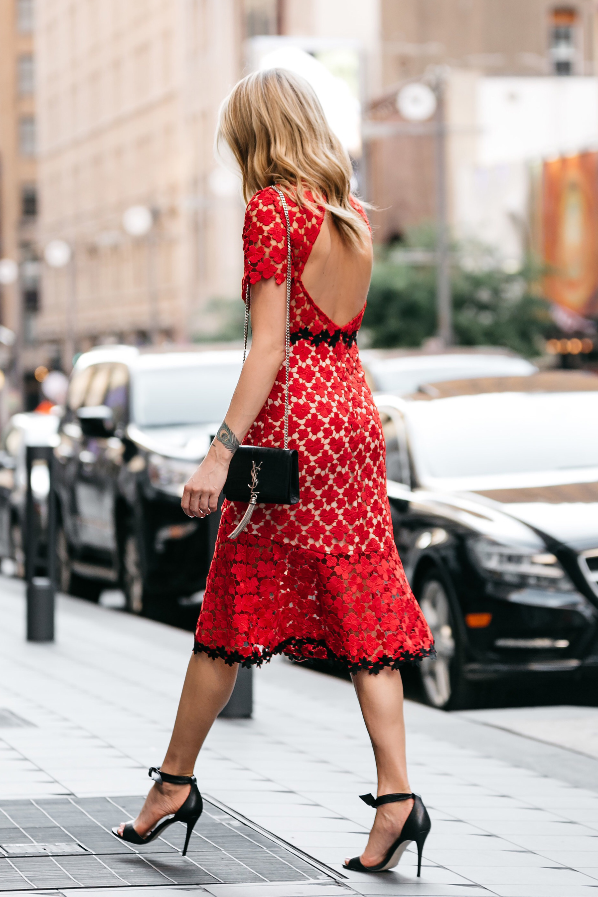 Fashion Jackson, Dallas Blogger, Fashion Blogger, Street Style, Jill Stuart Floral Red Lace Dress, Black Ankle Strap Bow Heels, Saint Laurent Monogram Handbag