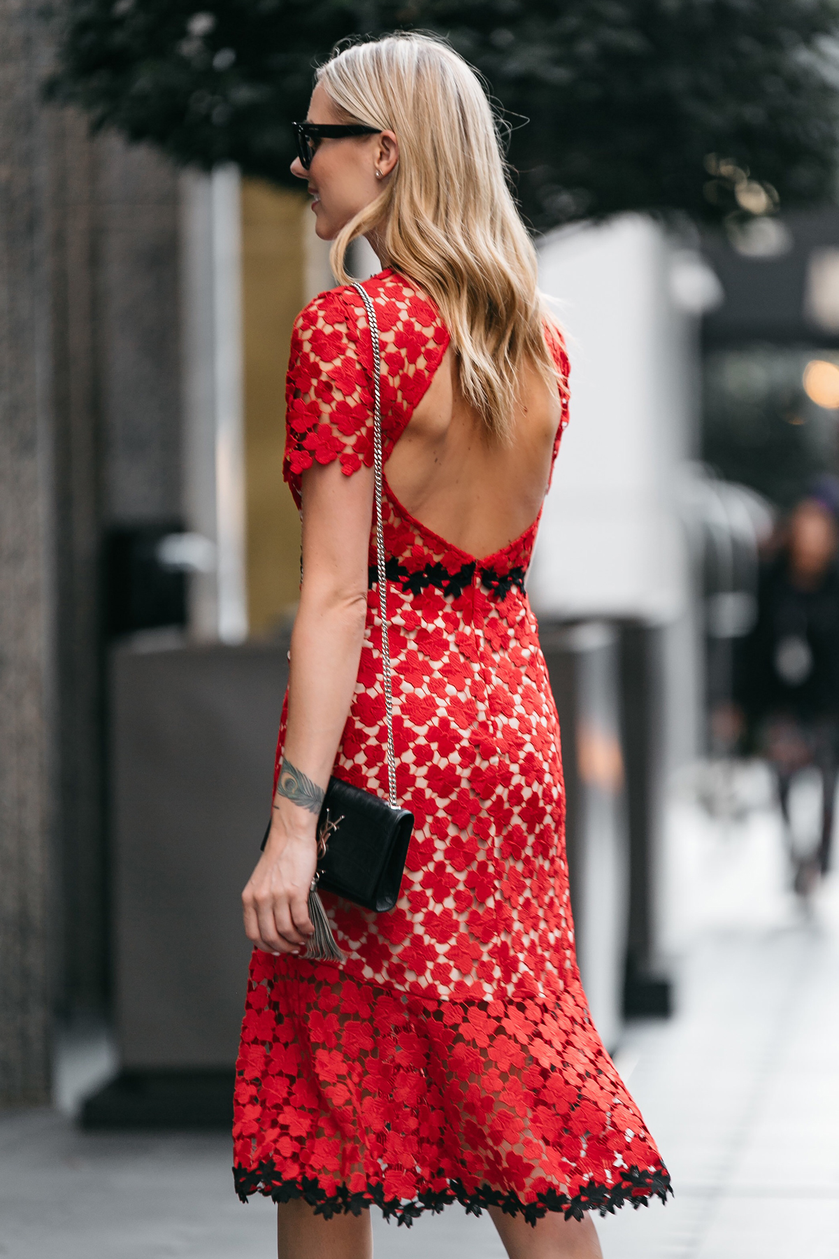 Fashion Jackson, Dallas Blogger, Fashion Blogger, Street Style, Jill Stuart Floral Red Lace Dress, Saint Laurent Monogram Handbag