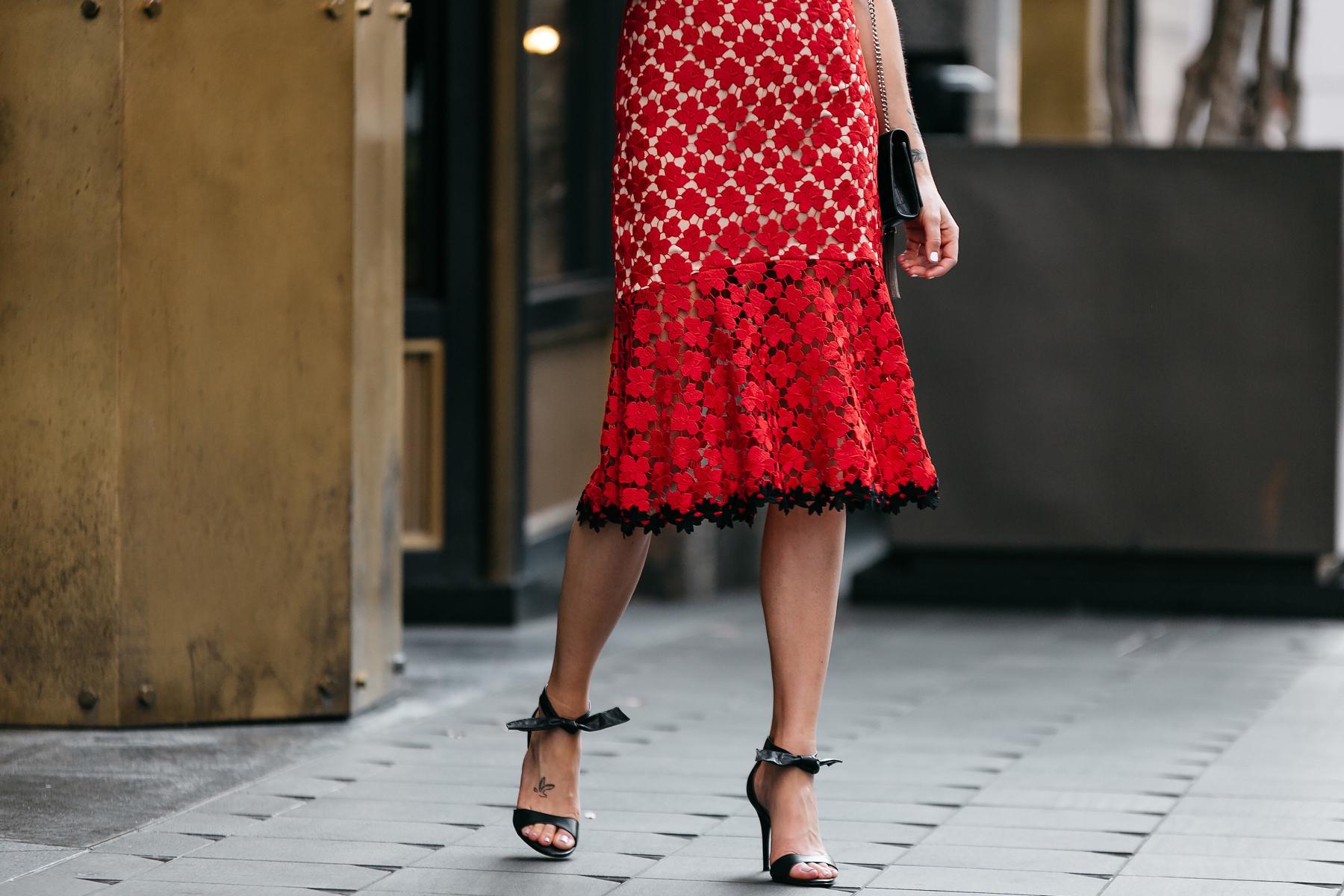 Fashion Jackson, Dallas Blogger, Fashion Blogger, Street Style, Jill Stuart Floral Red Lace Dress, Black Ankle Strap Bow Heels