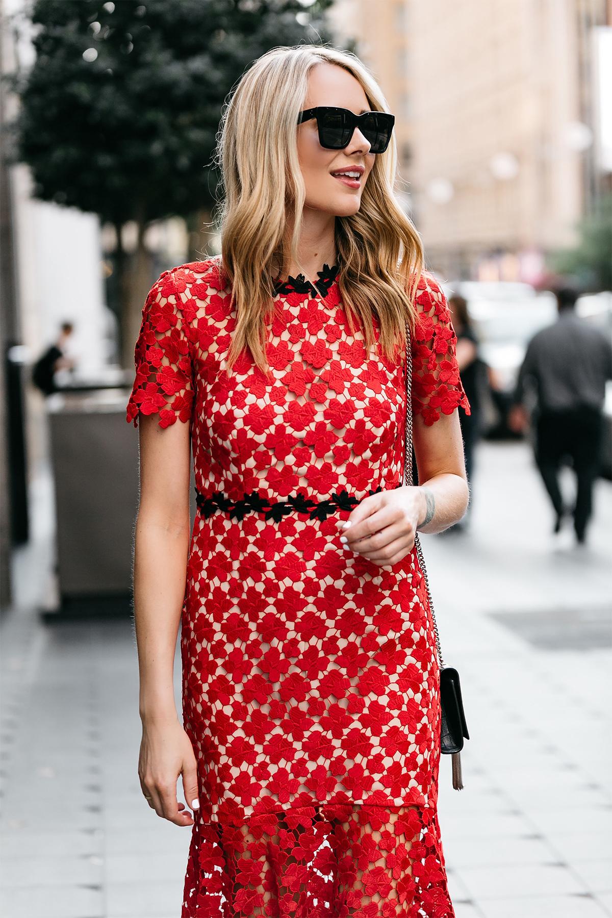 Fashion Jackson, Dallas Blogger, Fashion Blogger, Street Style, Jill Stuart Floral Red Lace Dress