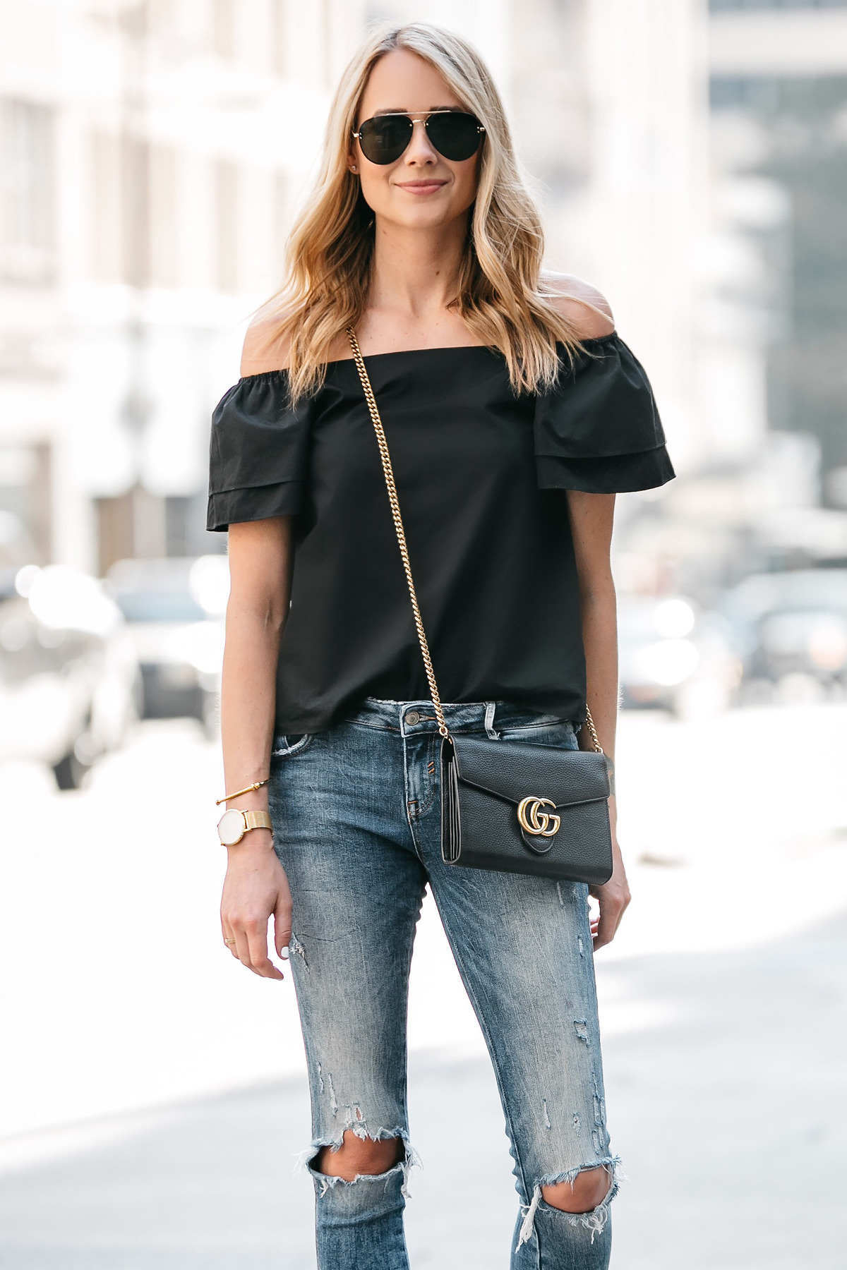 Fashion Jackson, Dallas Blogger, Fashion Blogger, Street Style, Black Short Sleeve Off-the-shoulder top, Zara Denim Ripped Skinny Jeans, Gucci Marmont Handbag