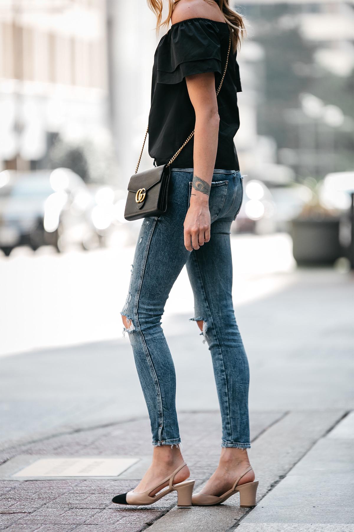 Fashion Jackson, Dallas Blogger, Fashion Blogger, Street Style, Black Short Sleeve Off-the-shoulder top, Zara Denim Ripped Skinny Jeans, Gucci Marmont Handbag, Similar Chanel Slingbacks