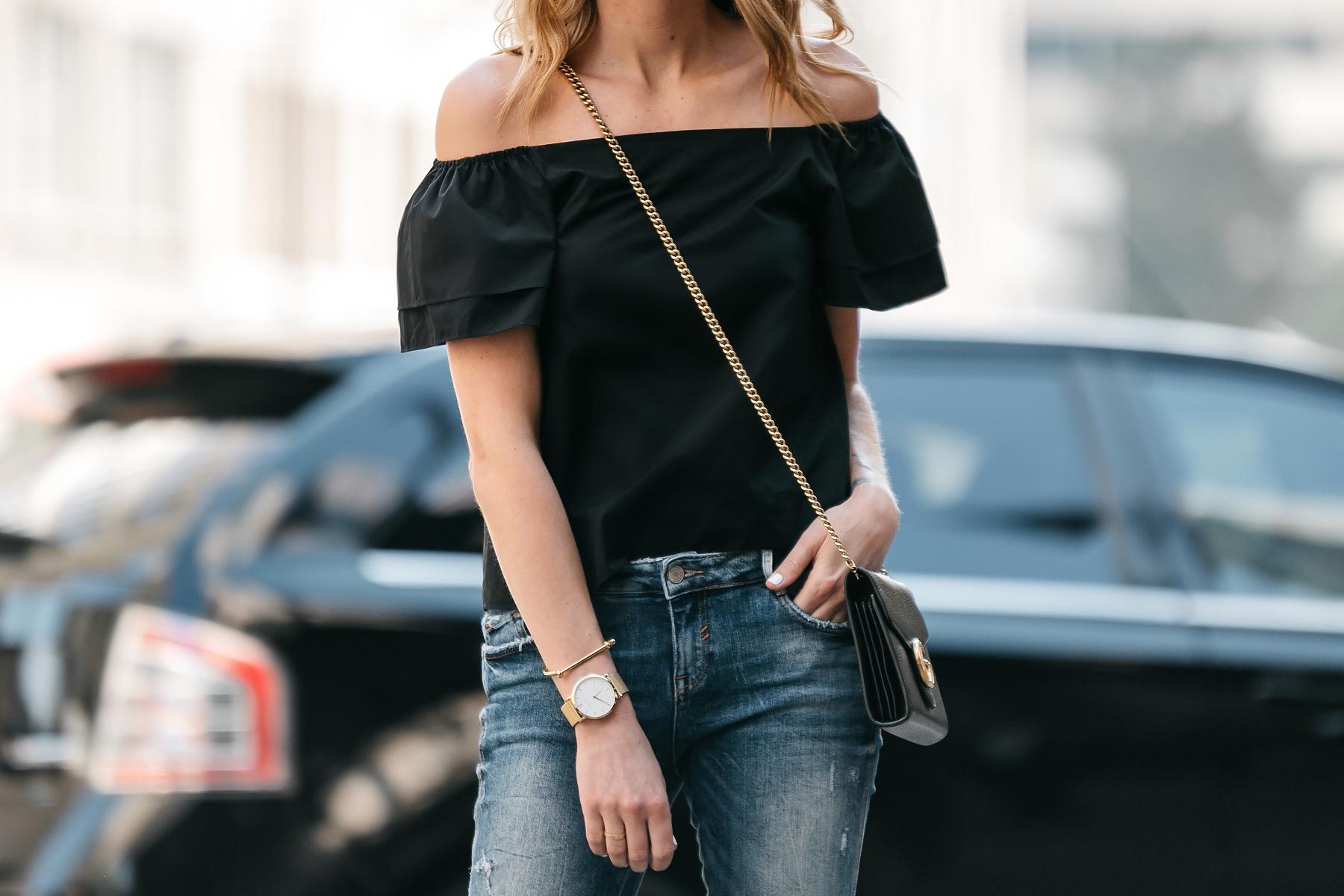 Fashion Jackson, Dallas Blogger, Fashion Blogger, Street Style, Black Short Sleeve Off-the-shoulder top, Zara Denim Ripped Skinny Jeans, Gucci Marmont Handbag
