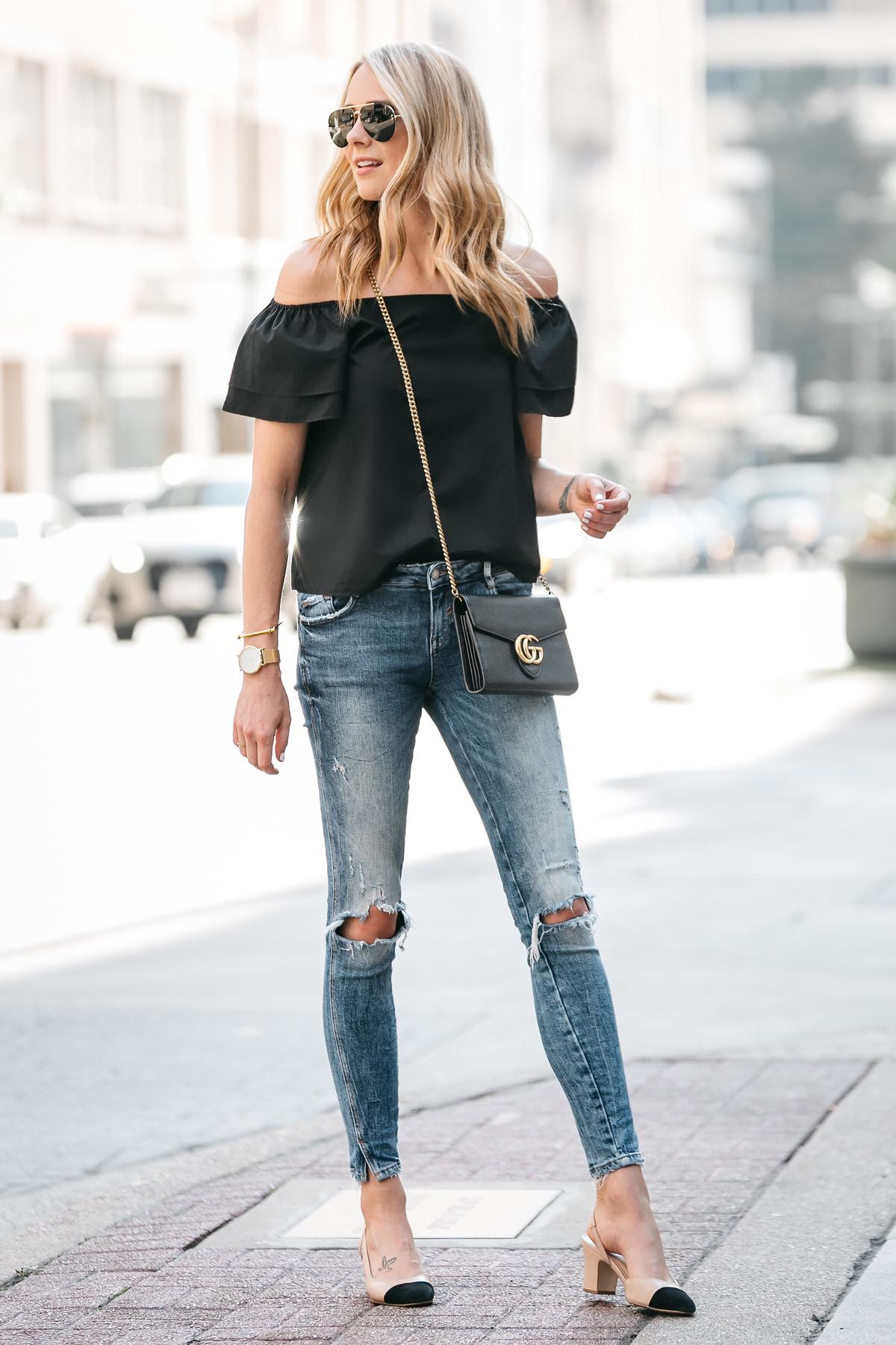 jeans jackson street blogger chanel outfit skinny outfits shoulder dallas hear sleeve short ripped pilkington emma jane summer mode heels