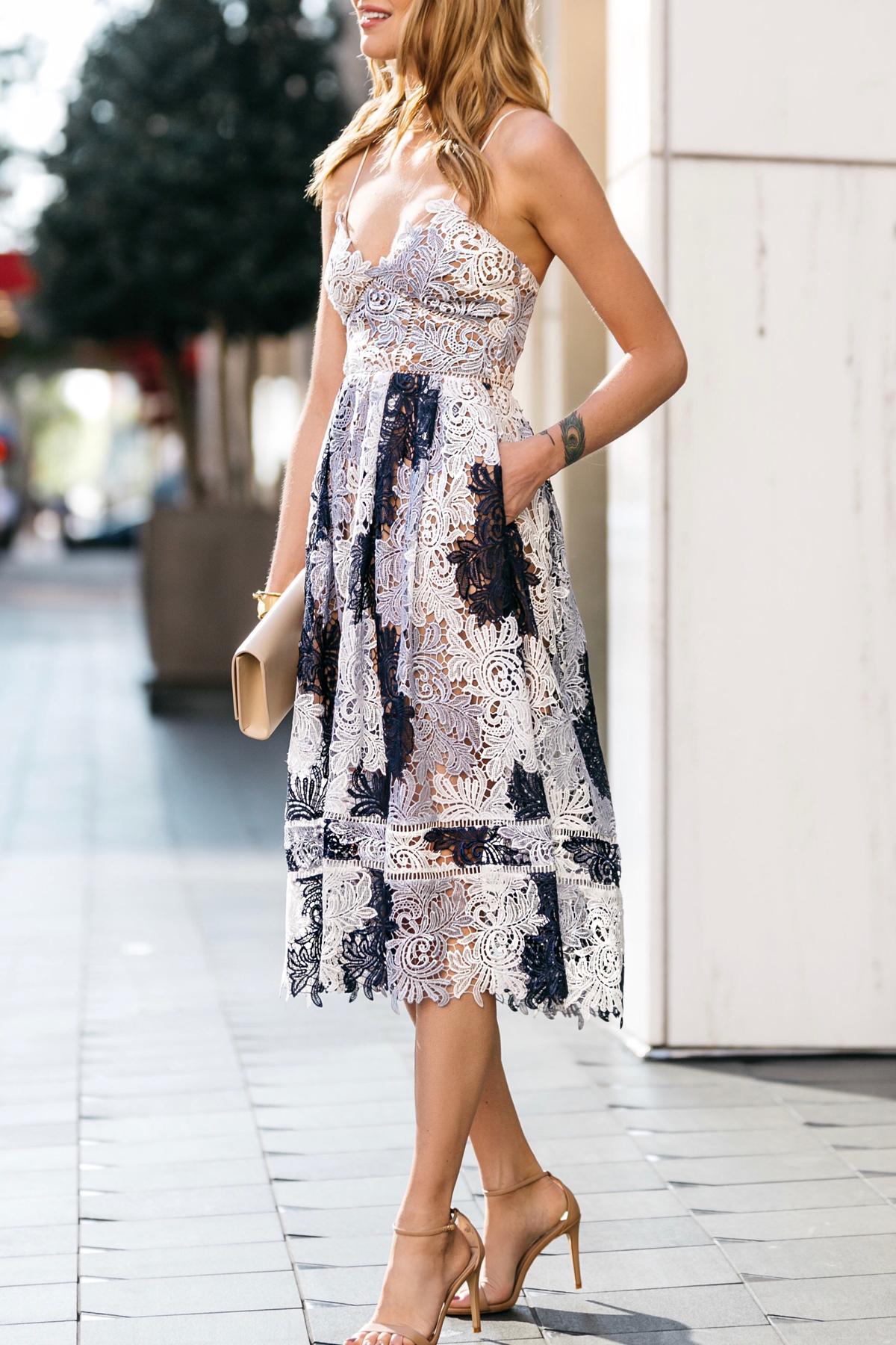 Fashion Jackson, Dallas Blogger, Fashion Blogger, Street Style, Self-Portrait Camellias Lace Dress, Saint Laurent Monogram Clutch, Steve Madden Ankle Strap Heeled Sandals