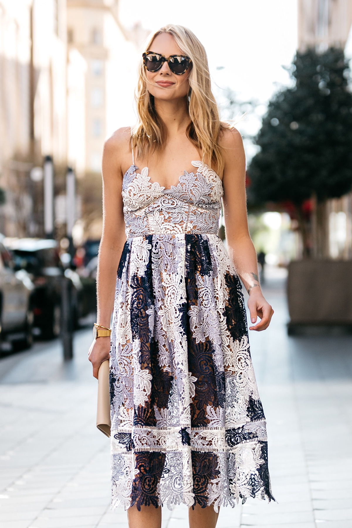 Fashion Jackson, Dallas Blogger, Fashion Blogger, Street Style, Self-Portrait Camellias Lace Dress, Saint Laurent Monogram Clutch