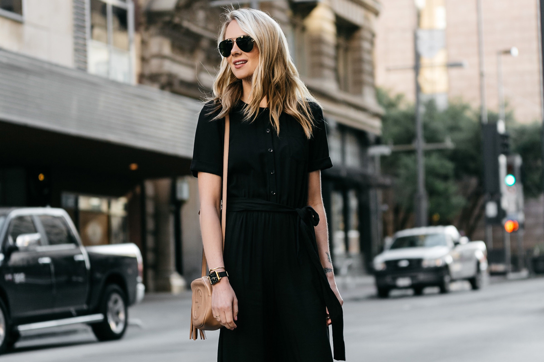 Fashion Jackson, Dallas Blogger, Fashion Blogger, Street Style, Ann Taylor Culotte Black Jumpsuit, Gucci Soho Disco Handbag