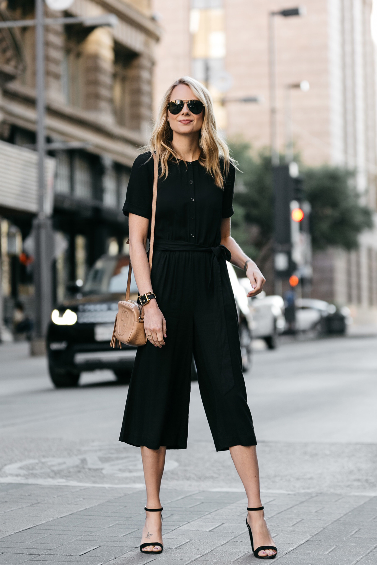 Fashion Jackson, Dallas Blogger, Fashion Blogger, Street Style, Ann Taylor Culotte Black Jumpsuit, Steve Madden Carrson Heeled Sandals, Black Ankle Strap Sandals, Gucci Soho Disco Handbag