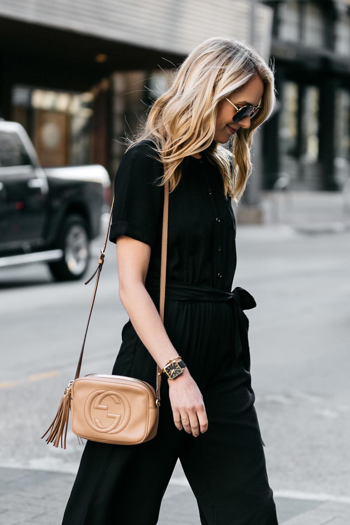 Fashion Jackson, Dallas Blogger, Fashion Blogger, Street Style, Ann Taylor Culotte Black Jumpsuit, Gucci Soho Disco Handbag