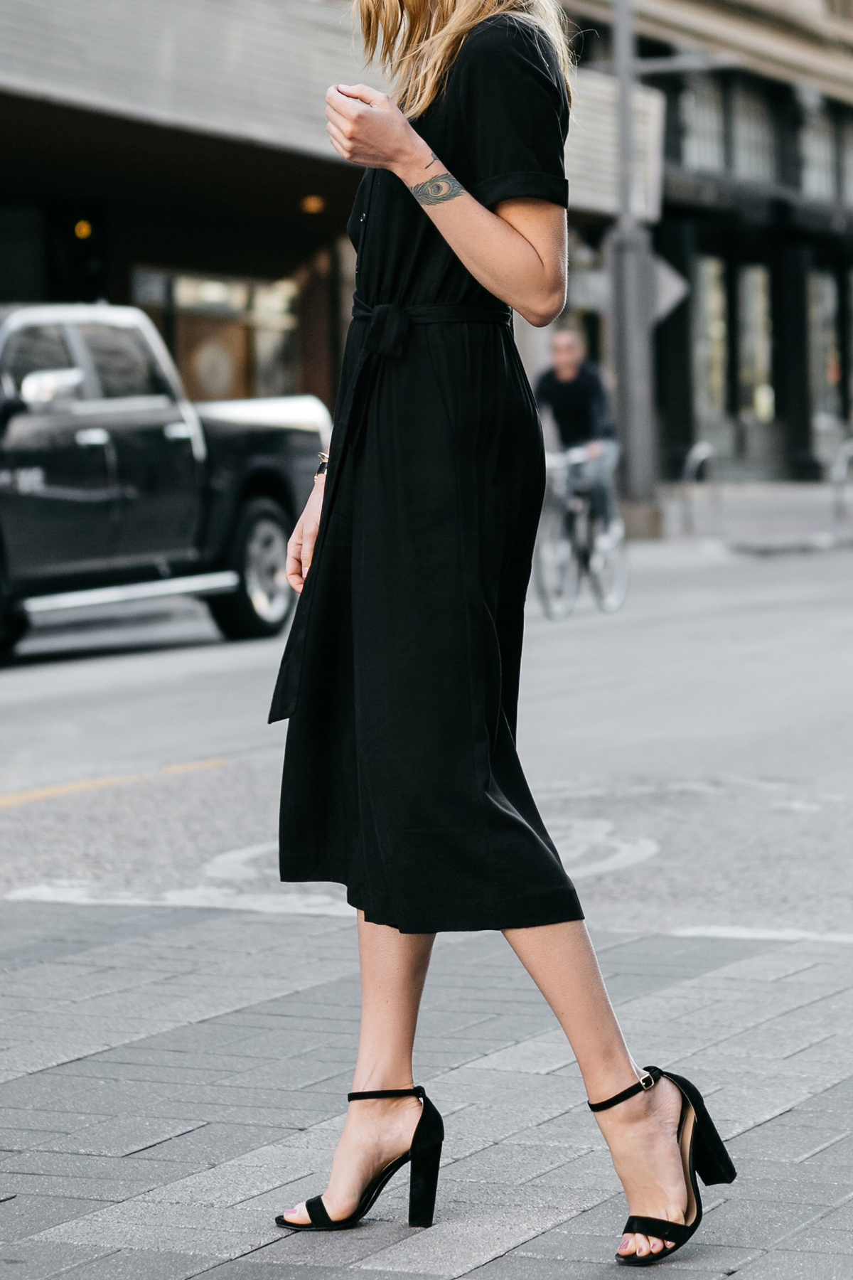 Fashion Jackson, Dallas Blogger, Fashion Blogger, Street Style, Ann Taylor Culotte Black Jumpsuit, Steve Madden Carrson Heeled Sandals, Black Ankle Strap Sandals